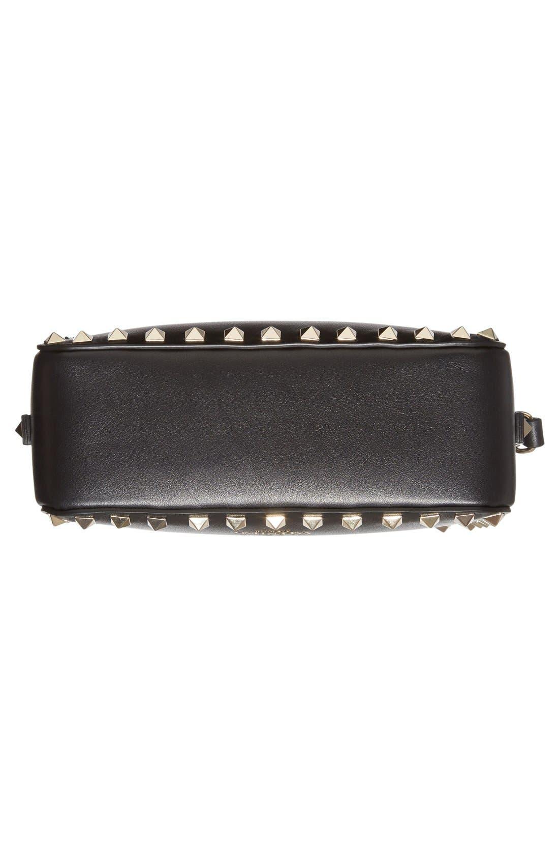 'Rockstud' Calfskin Leather Camera Crossbody Bag,                             Alternate thumbnail 7, color,                             NERO