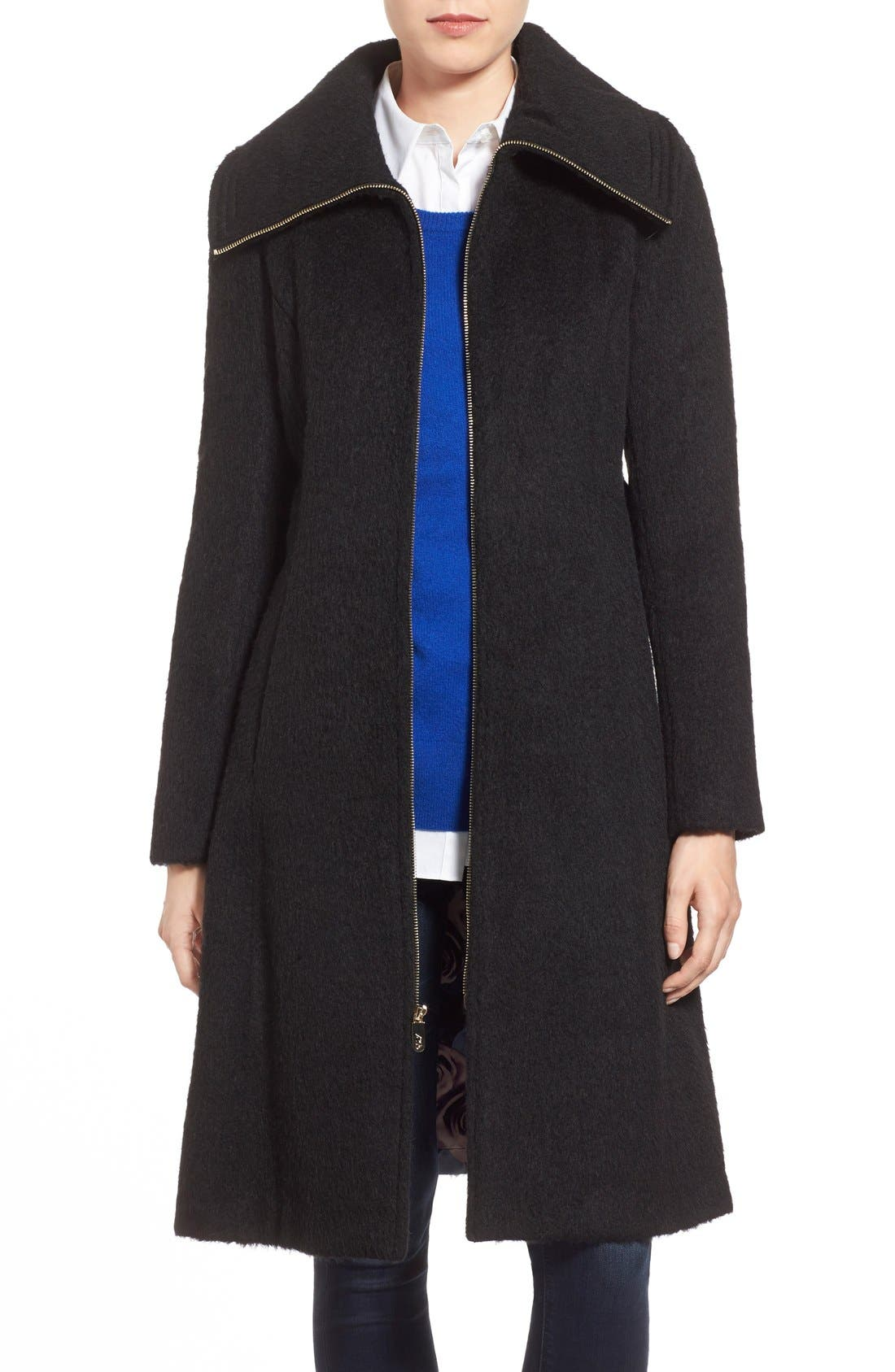 Brushed Wool Blend Fit & Flare Coat,                             Main thumbnail 1, color,