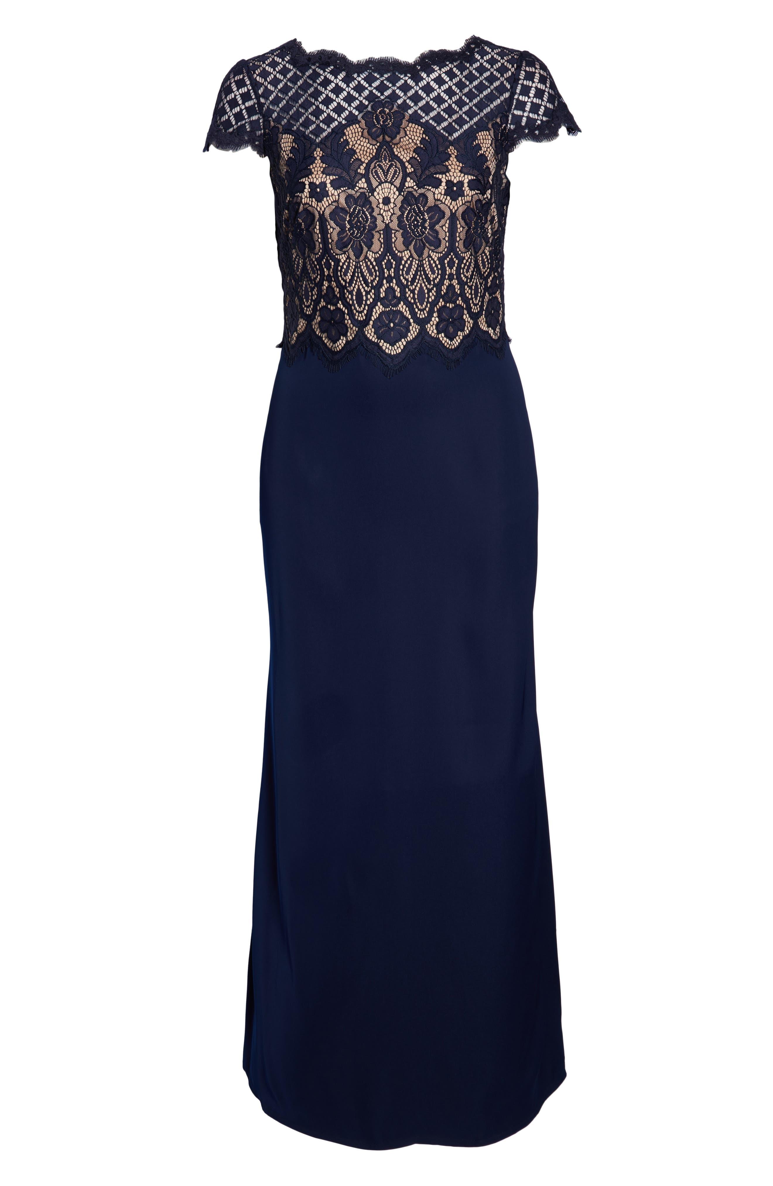 Lace & Crepe A-Line Gown,                             Alternate thumbnail 13, color,                             NAVY/ PETAL