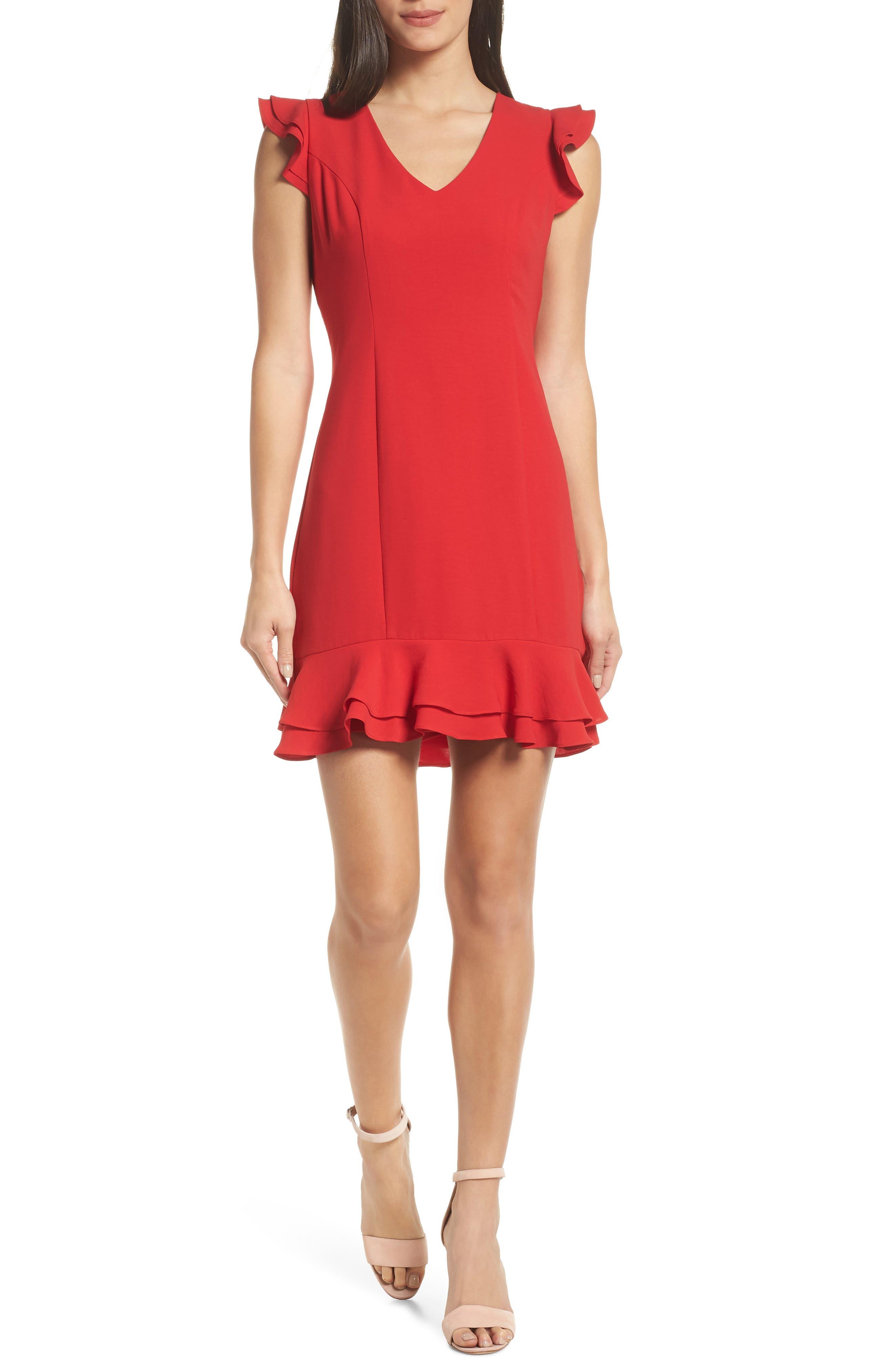 19 COOPER Ruffle Hem Dress in Red