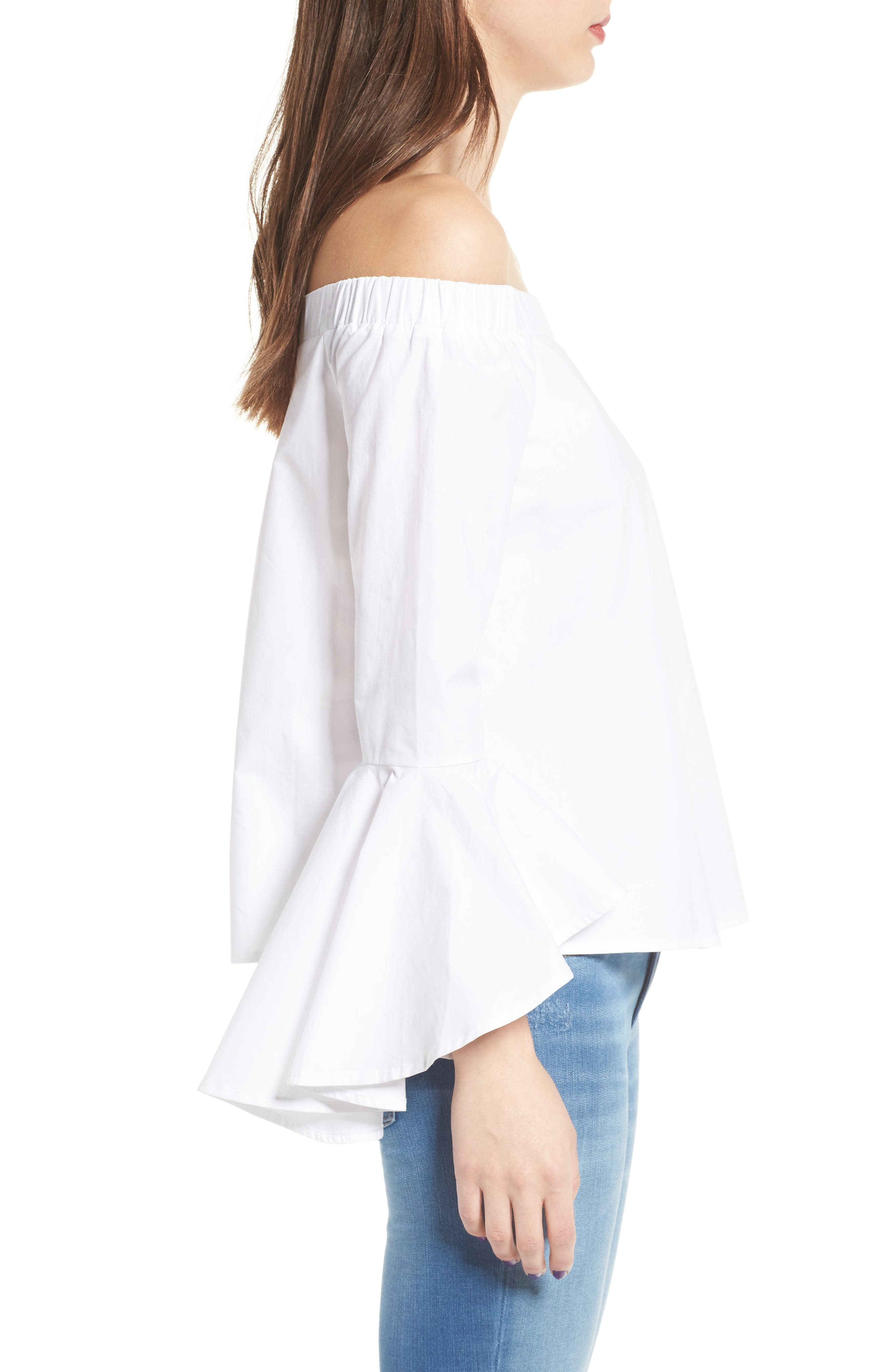 Bell Sleeve Off the Shoulder Blouse,                             Alternate thumbnail 3, color,                             100