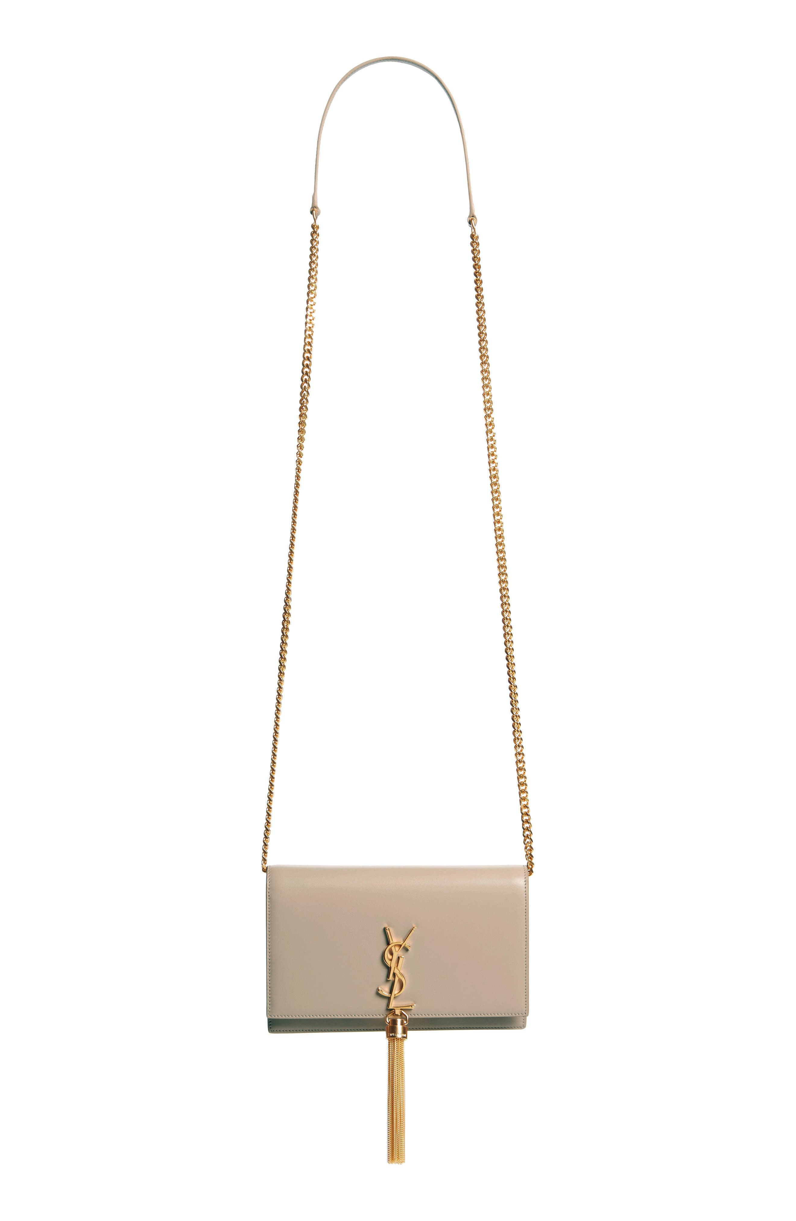 SAINT LAURENT,                             Small Monogram Calfskin Leather Wallet on a Chain,                             Main thumbnail 1, color,                             LIGHT NATURAL