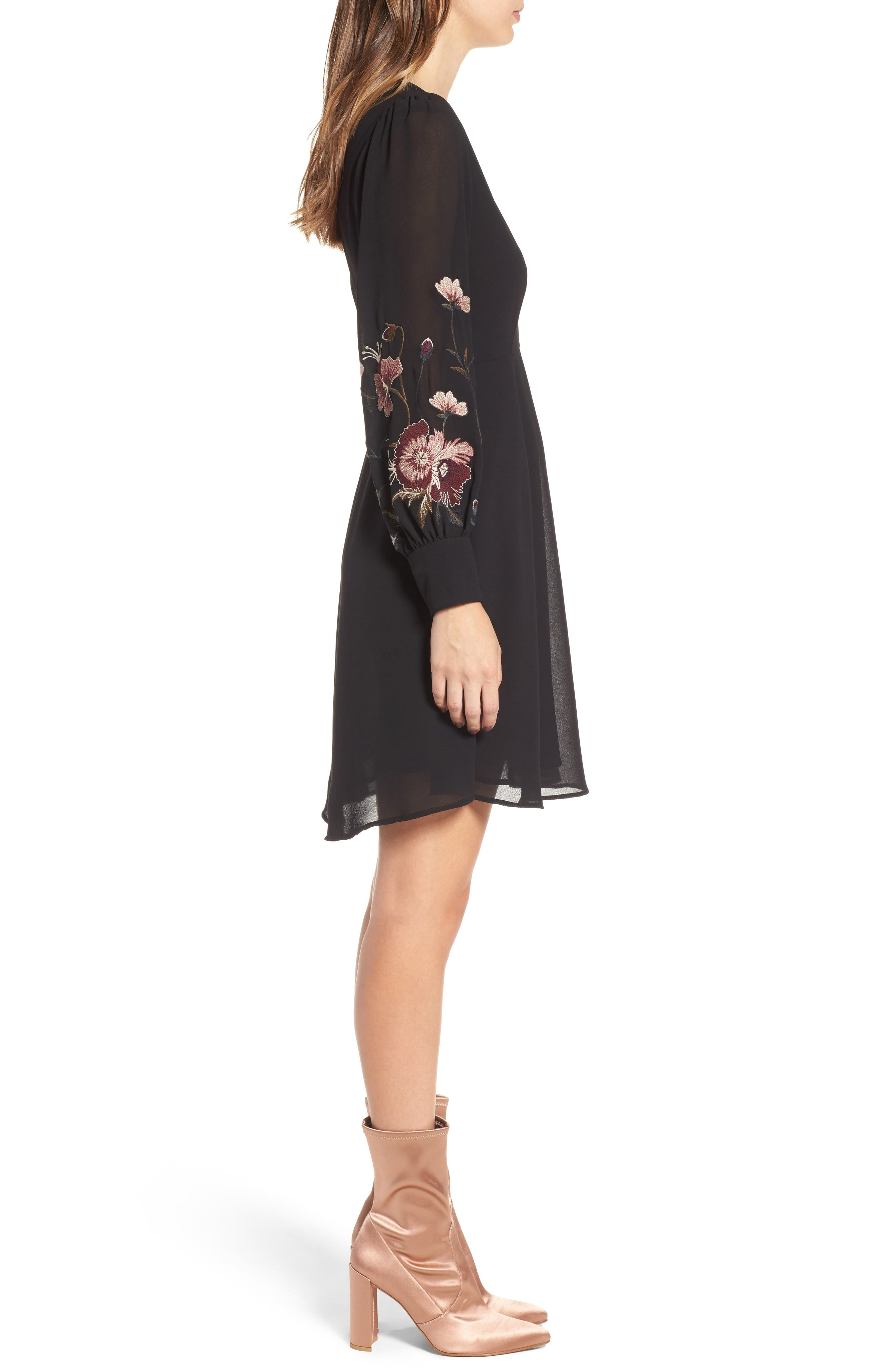 Holly Fit & Flare Dress,                             Alternate thumbnail 3, color,                             001