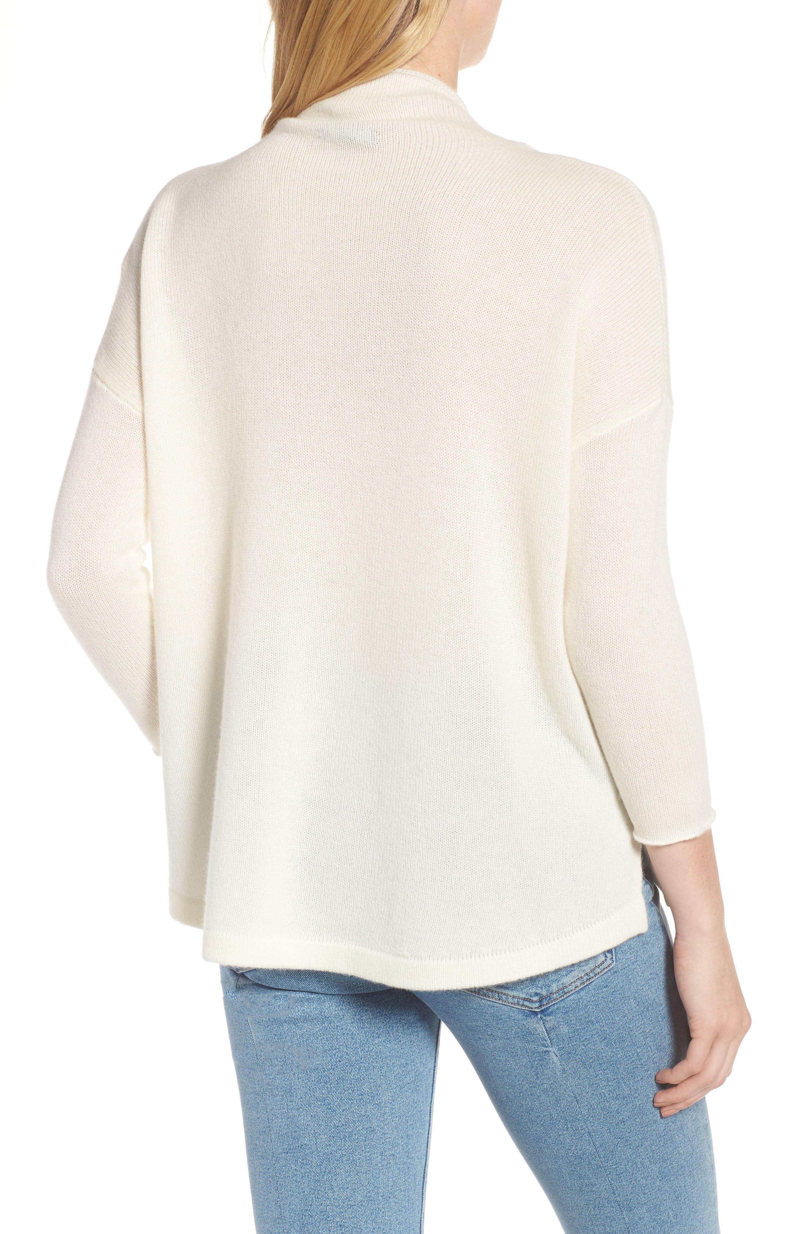 Mock Neck Cashmere Sweater,                             Alternate thumbnail 2, color,                             IVORY