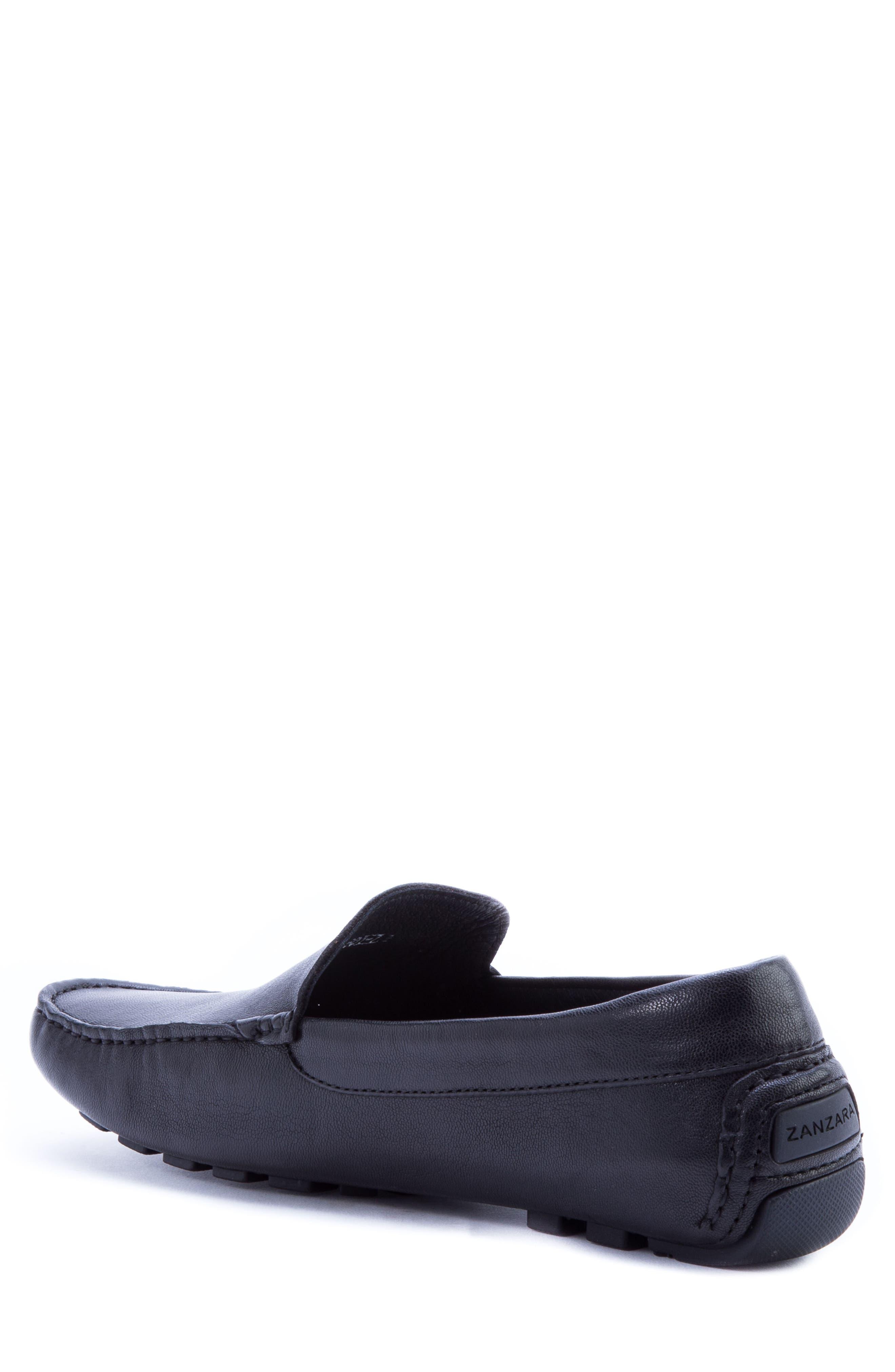ZANZARA,                             Picasso 3 Moc Toe Driving Loafer,                             Alternate thumbnail 2, color,                             BLACK LEATHER