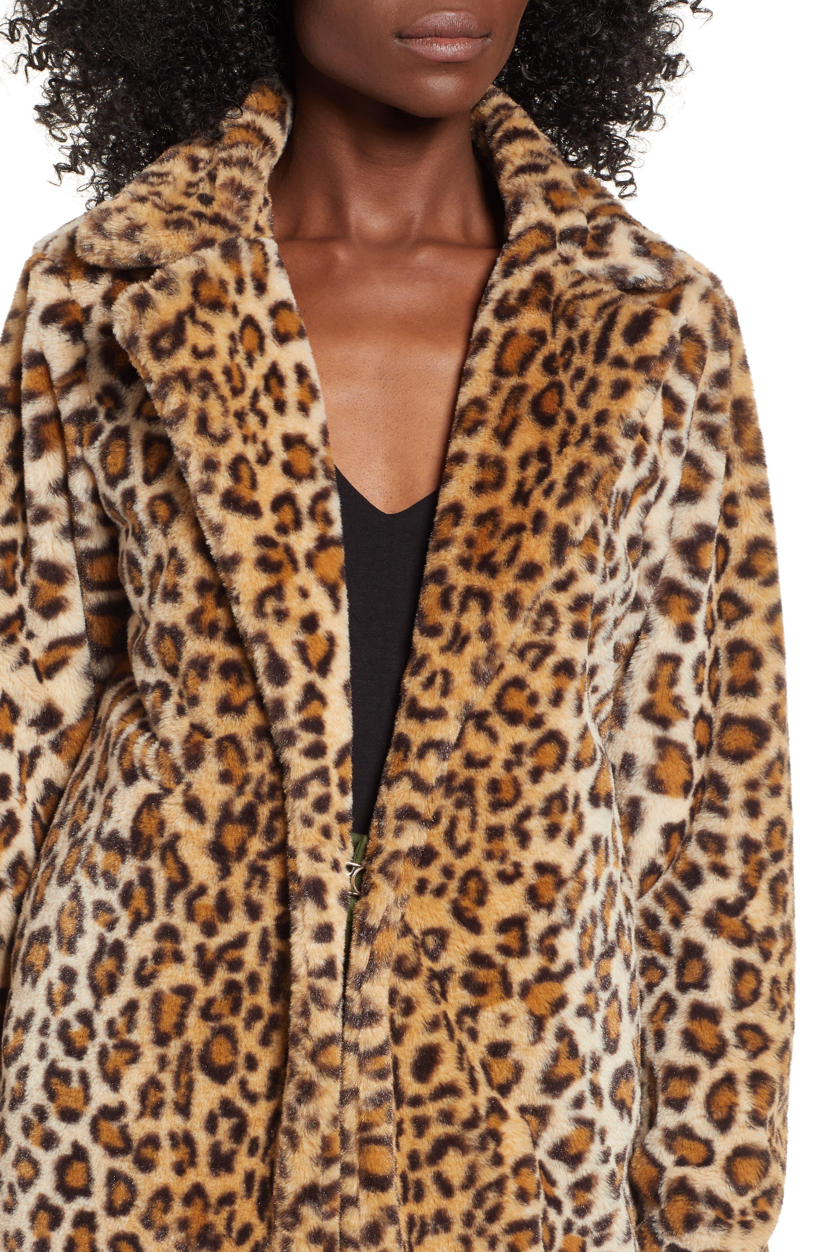 Stefani Leopard Print Faux Fur Coat,                             Alternate thumbnail 4, color,                             200