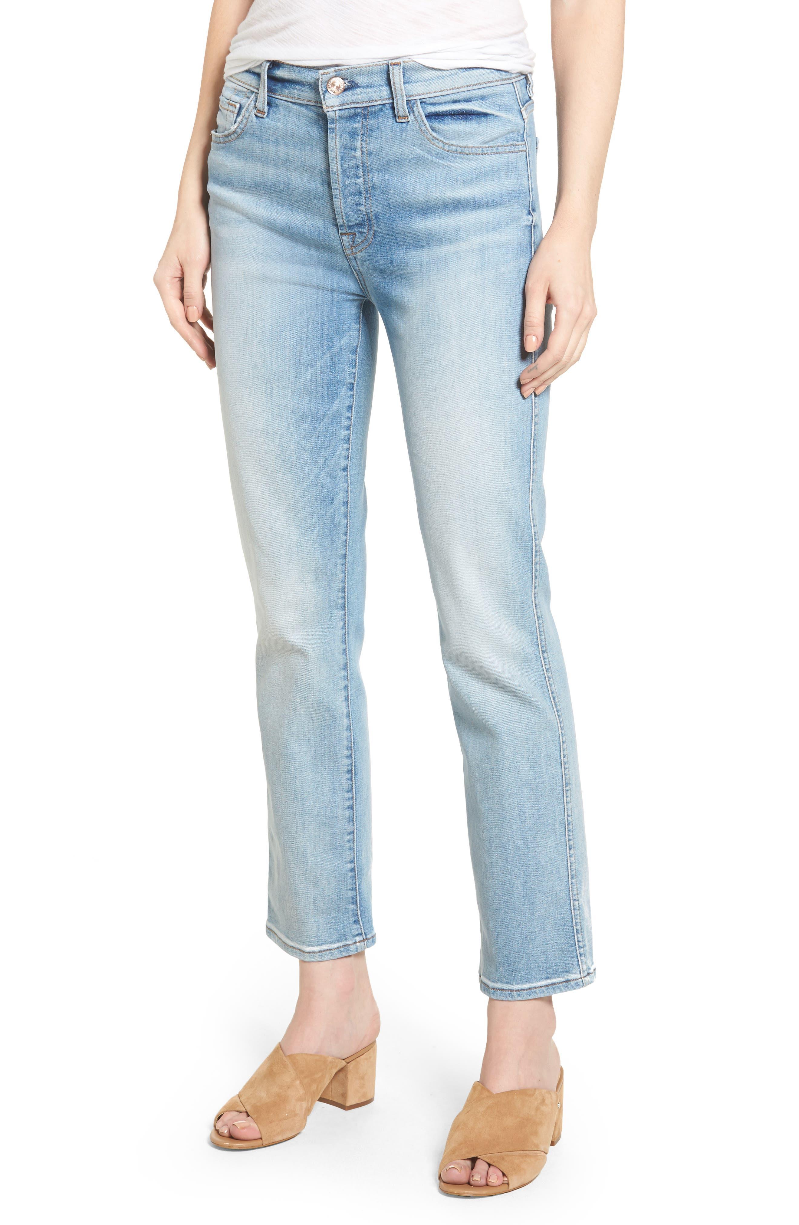 Edie High Waist Crop Jeans,                         Main,                         color,