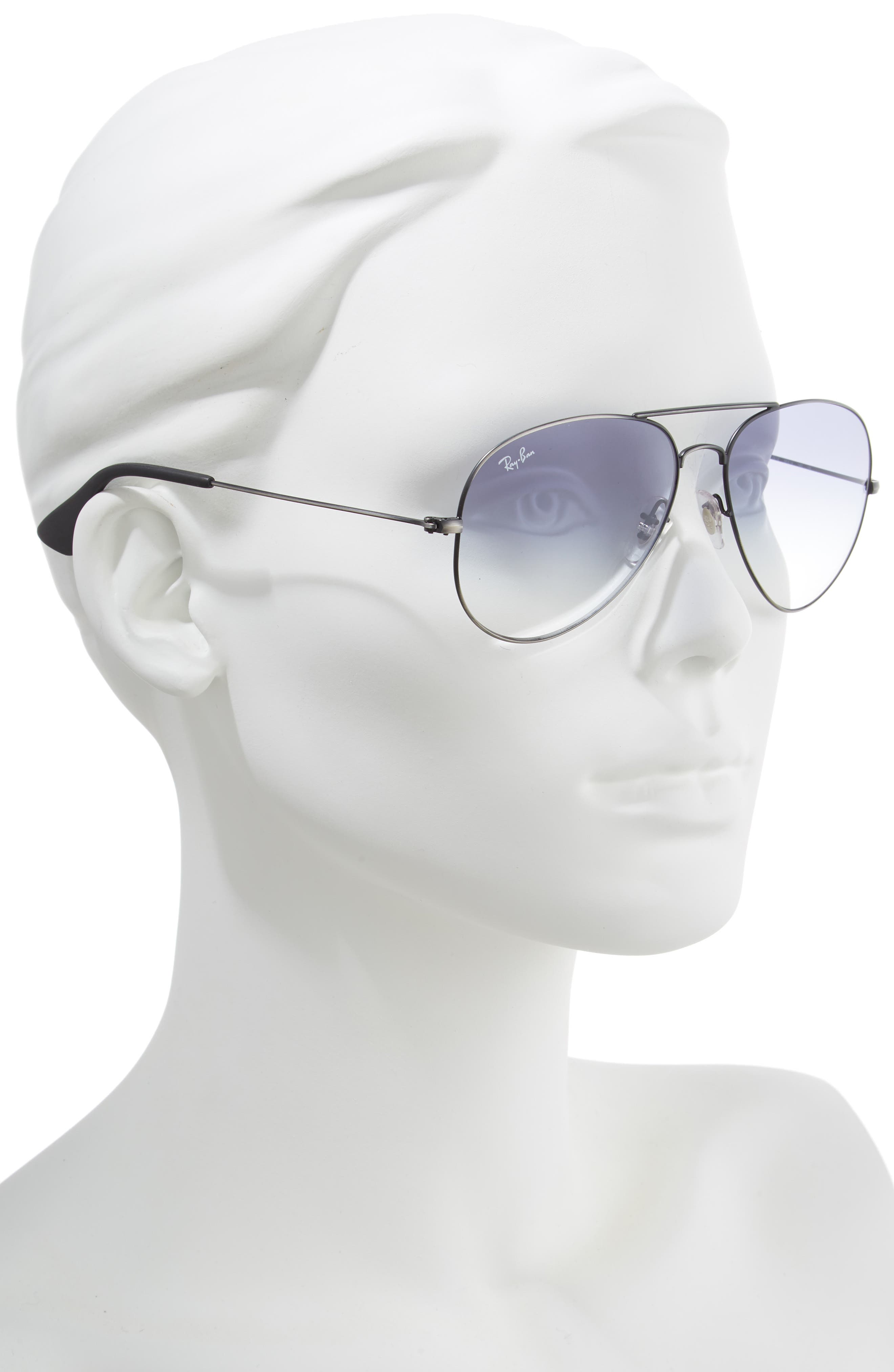 RAY-BAN,                             58mm Gradient Aviator Sunglasses,                             Alternate thumbnail 2, color,                             SILVER/ LIGHT BLUE GRADIENT