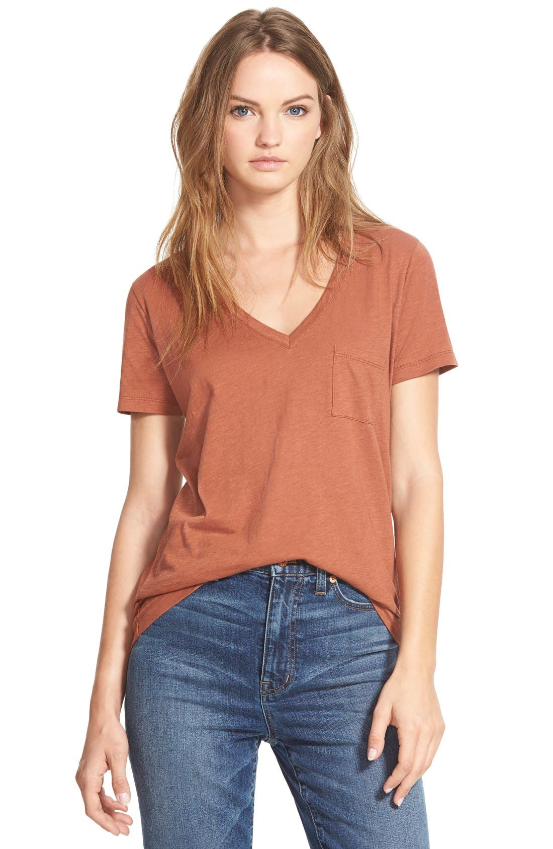 Whisper Cotton V-Neck Pocket Tee,                             Main thumbnail 29, color,