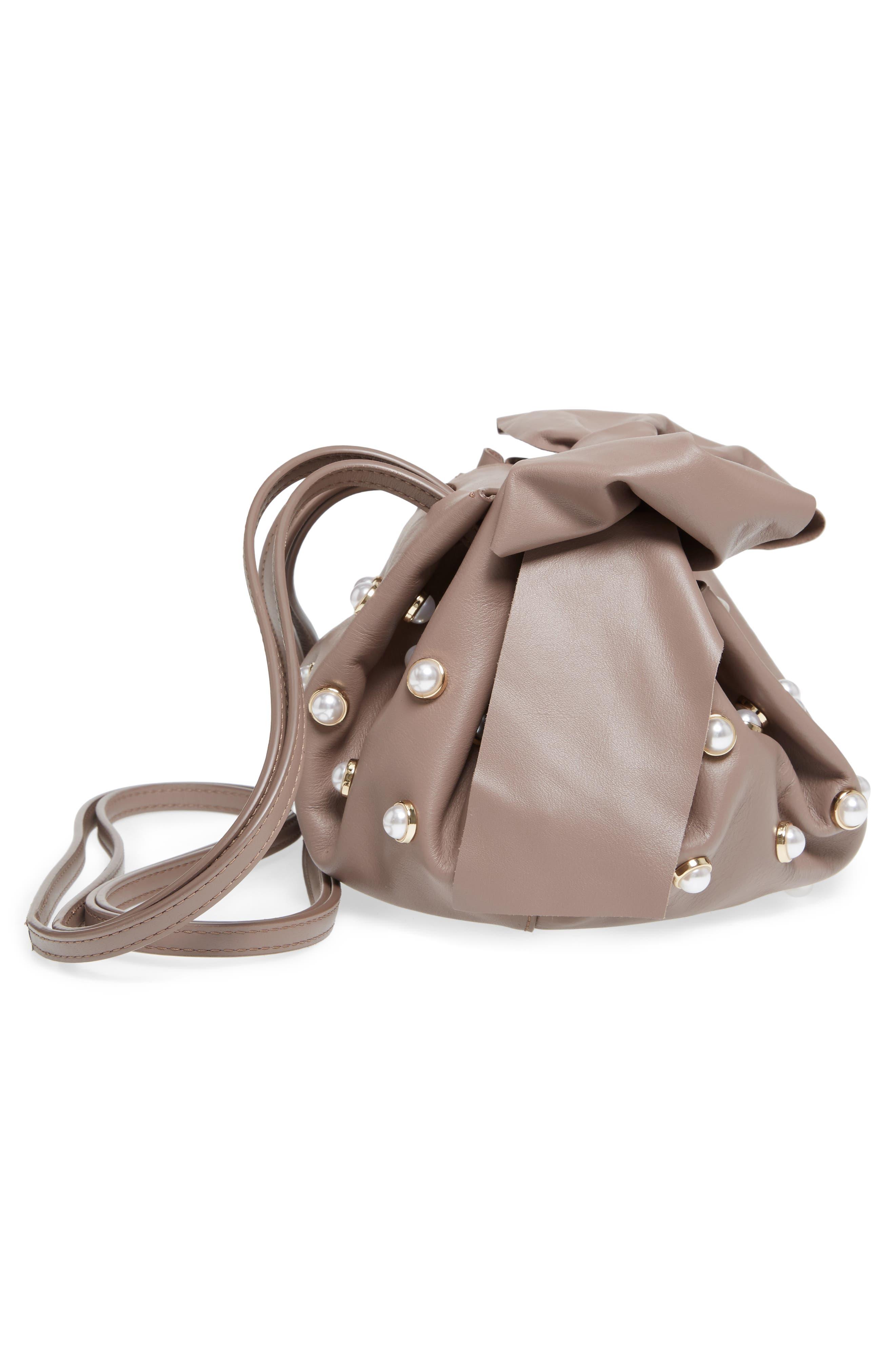 Soirée Imitation Pearl Lady Leather Crossbody Bag,                             Alternate thumbnail 5, color,                             530