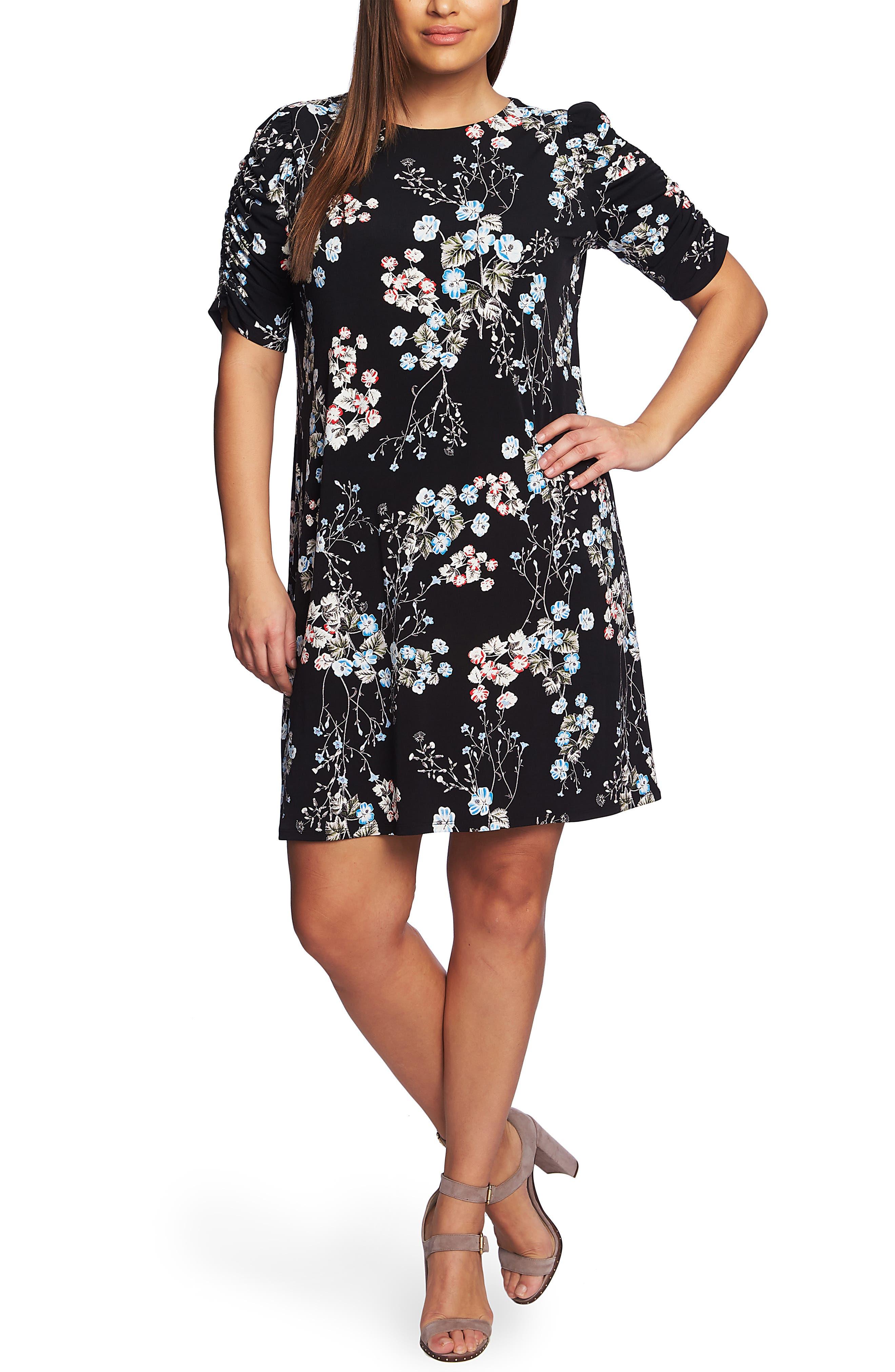 CECE Divine Floral Ruched Sleeve Dress, Main, color, RICH BLACK