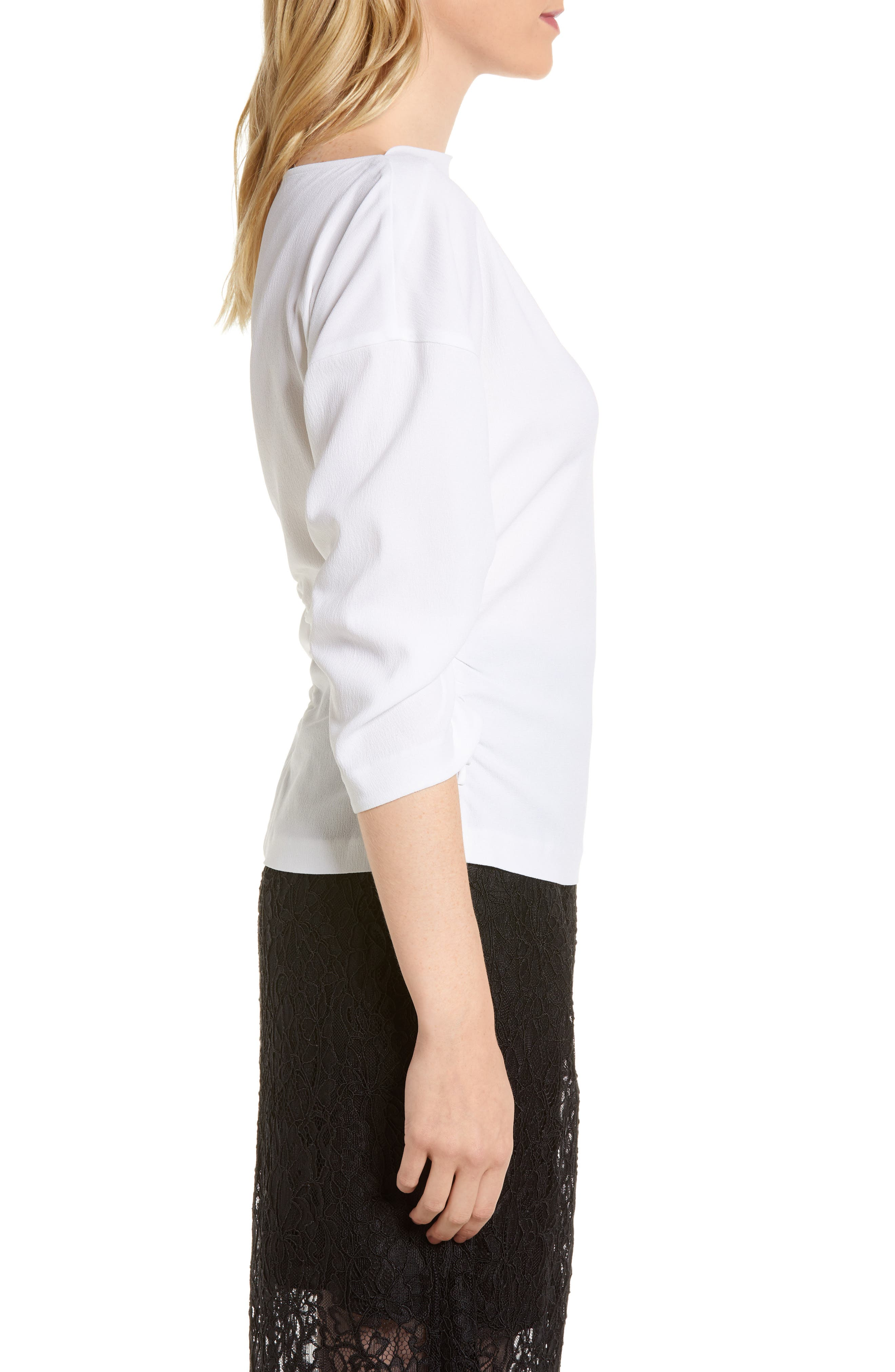 Ruched Crepe Top,                             Alternate thumbnail 3, color,                             100