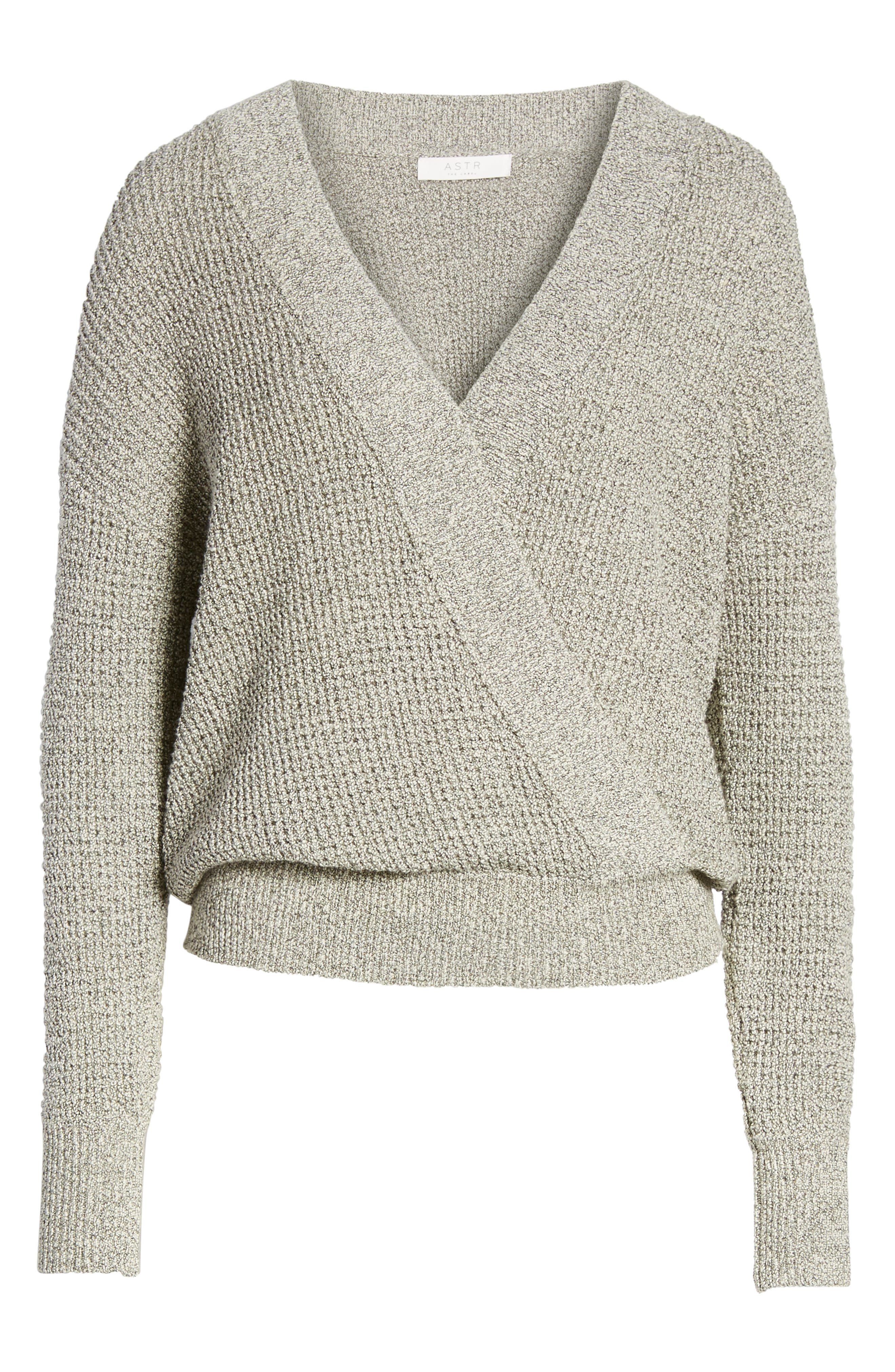Stephanie Surplice Sweater,                             Alternate thumbnail 6, color,                             HEATHER GREY