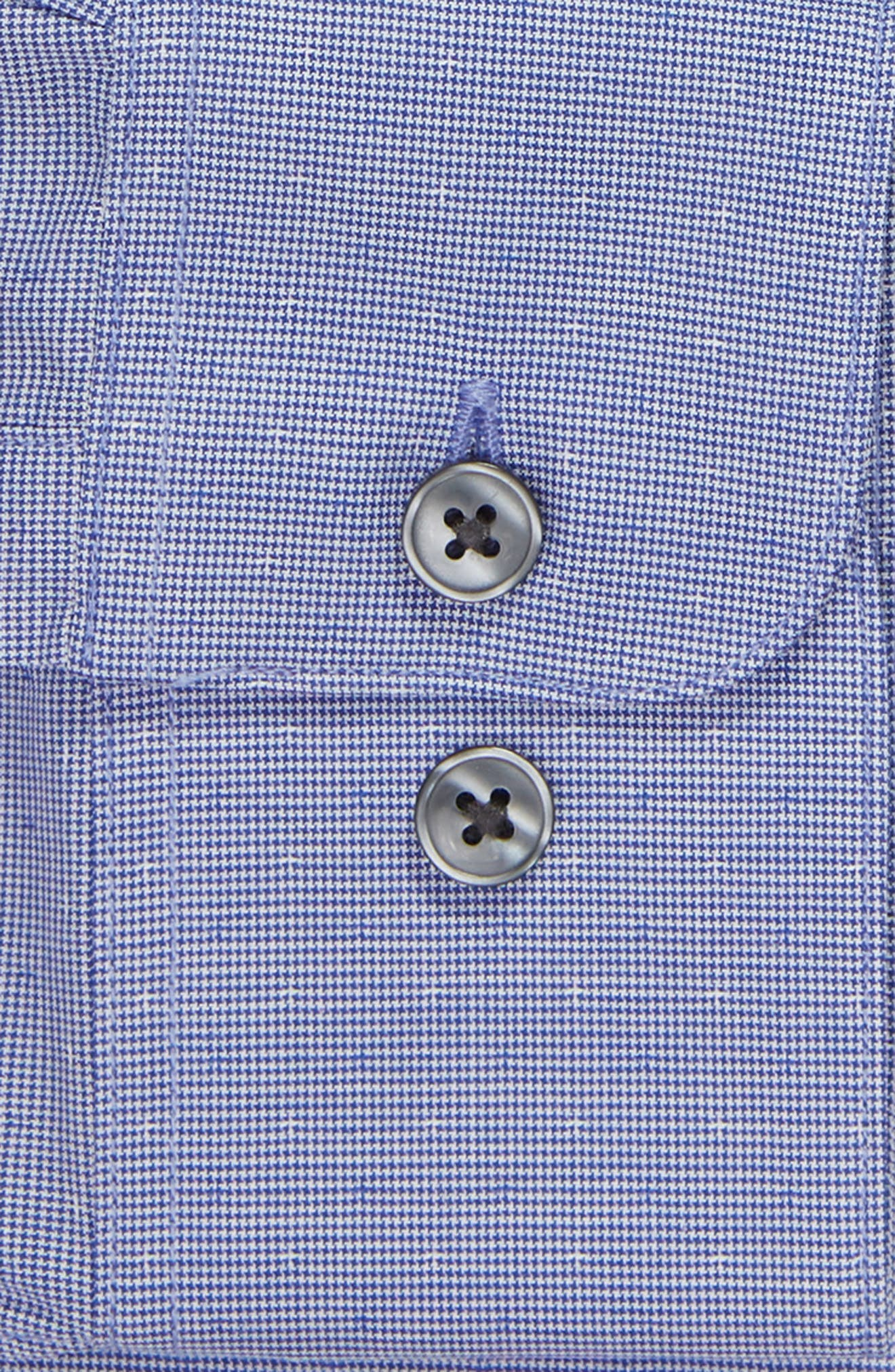 Regular Fit Stretch Houndstooth Dress Shirt,                             Alternate thumbnail 6, color,                             PACIFIC BLUE
