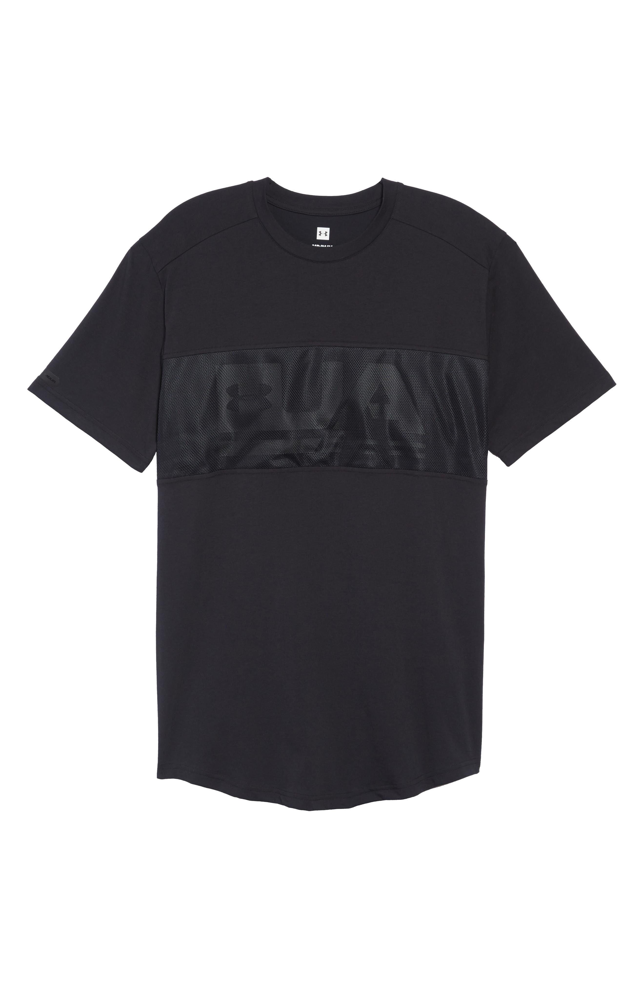 Mesh Panel T-Shirt,                             Alternate thumbnail 6, color,                             BLACK