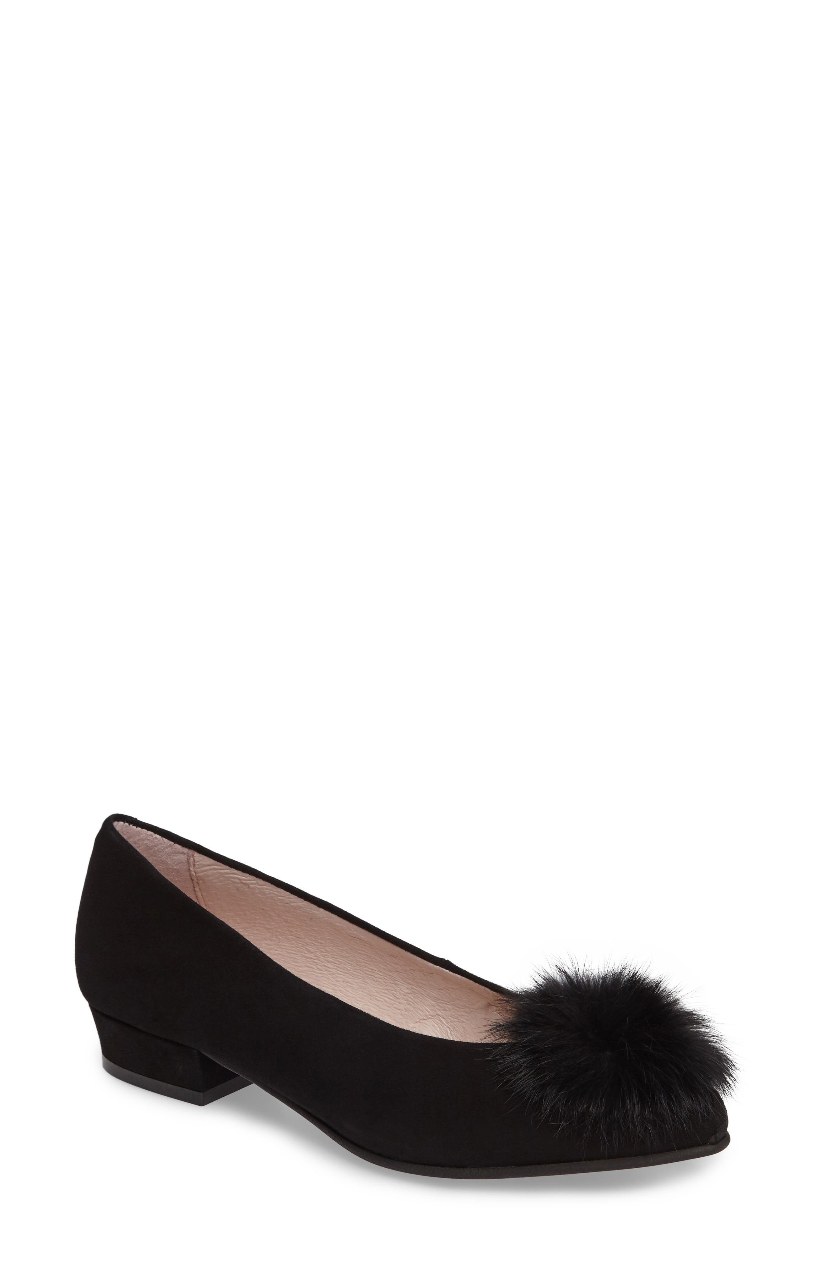 Sandy Flat with Genuine Rabbit Fur Pom,                             Main thumbnail 1, color,                             001