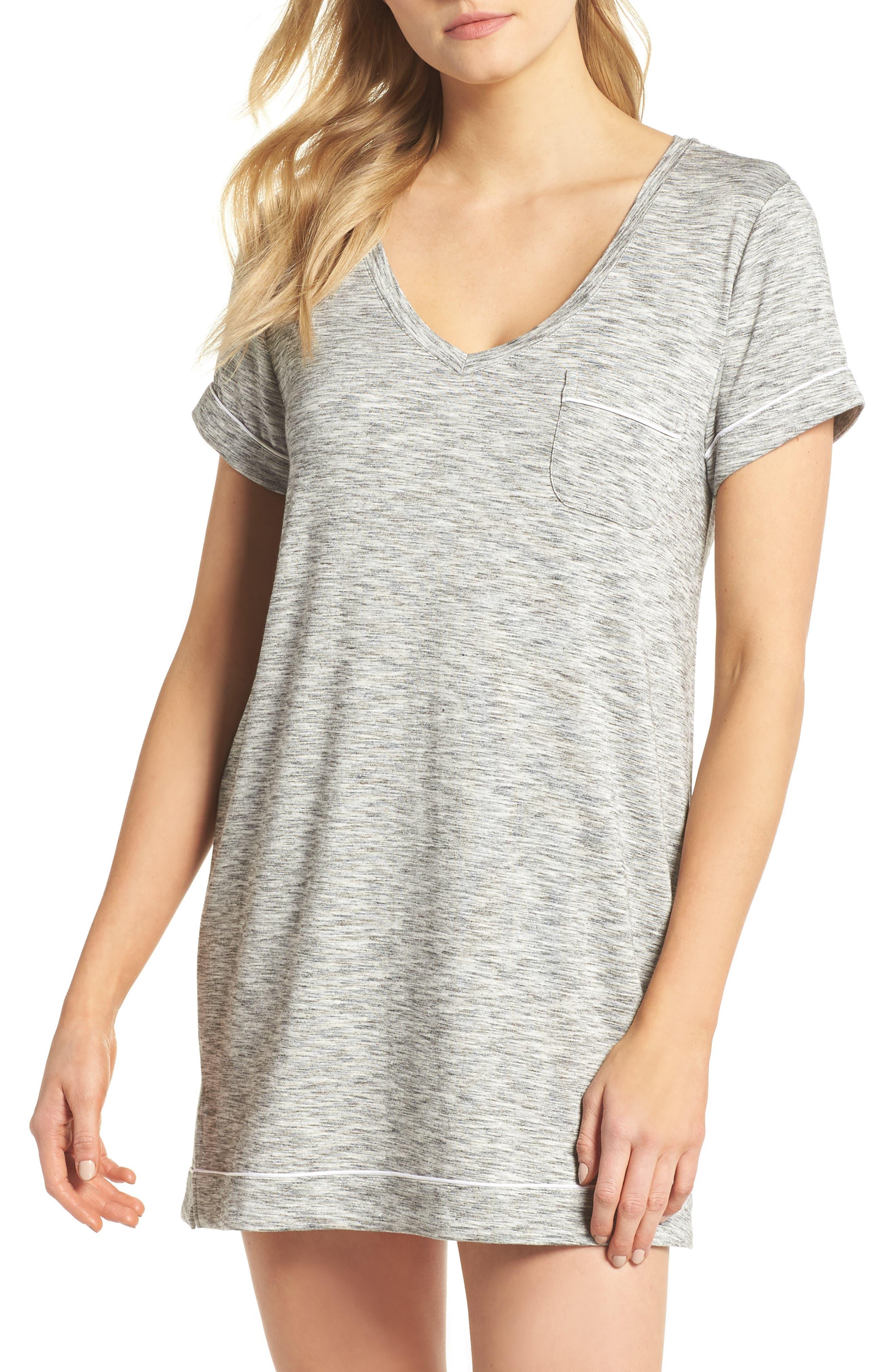 Moonlight Sleep Shirt,                         Main,                         color, GREY SPACEDYE