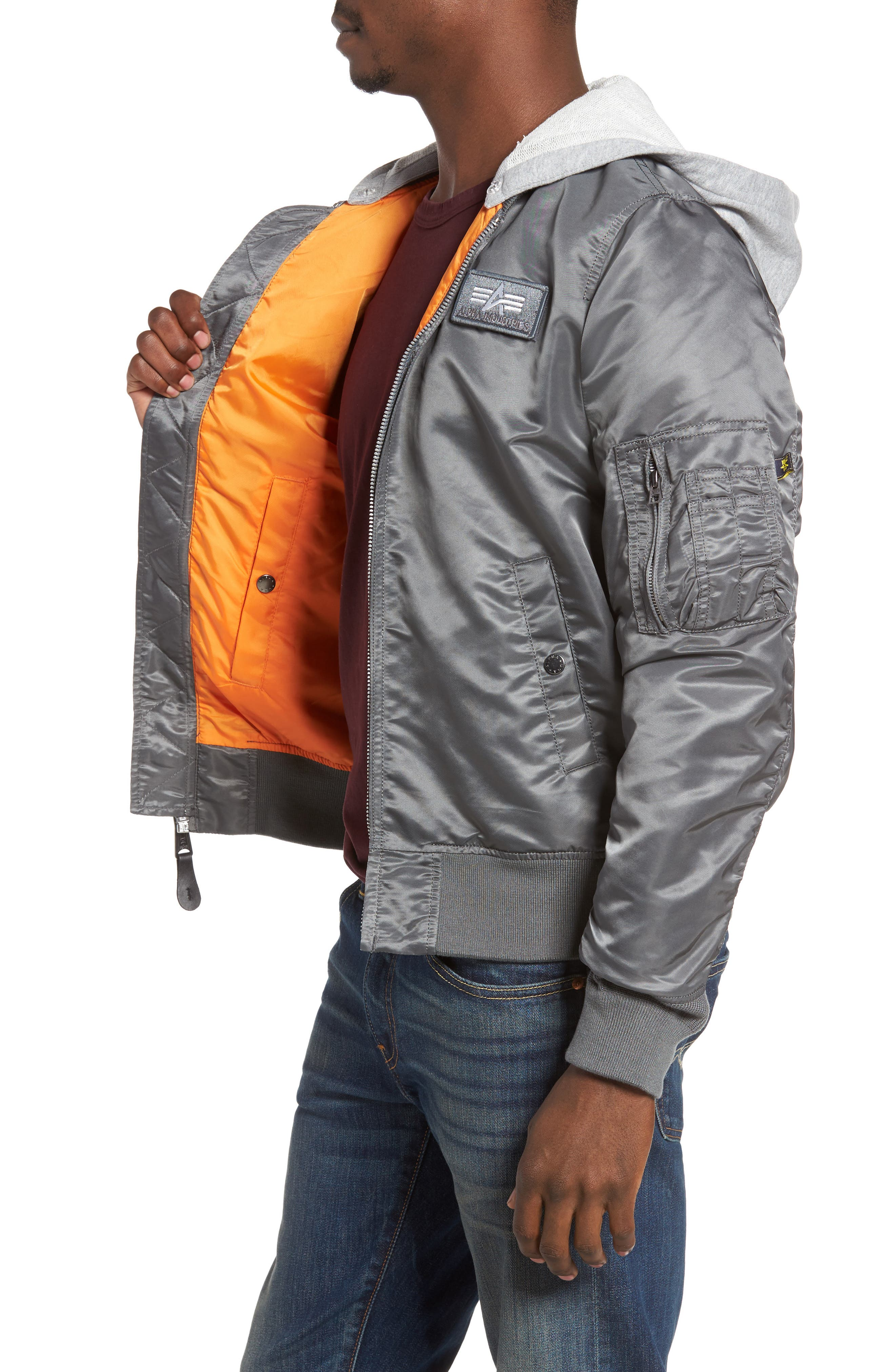 Lightweight L2-B Flight Jacket with Knit Hood,                             Alternate thumbnail 10, color,