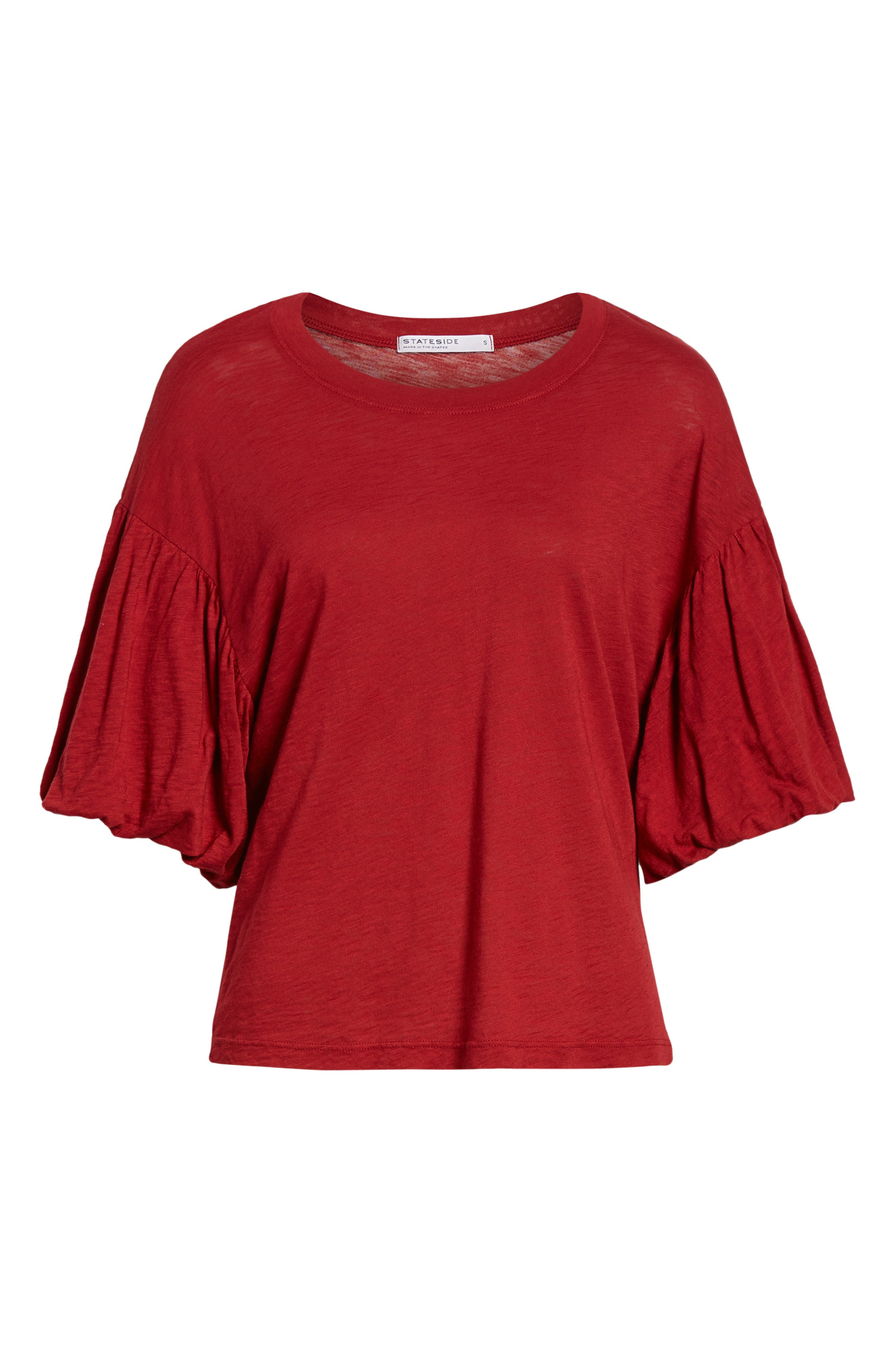 Ruffle Sleeve Slub Tee,                             Alternate thumbnail 6, color,                             DEEP RED
