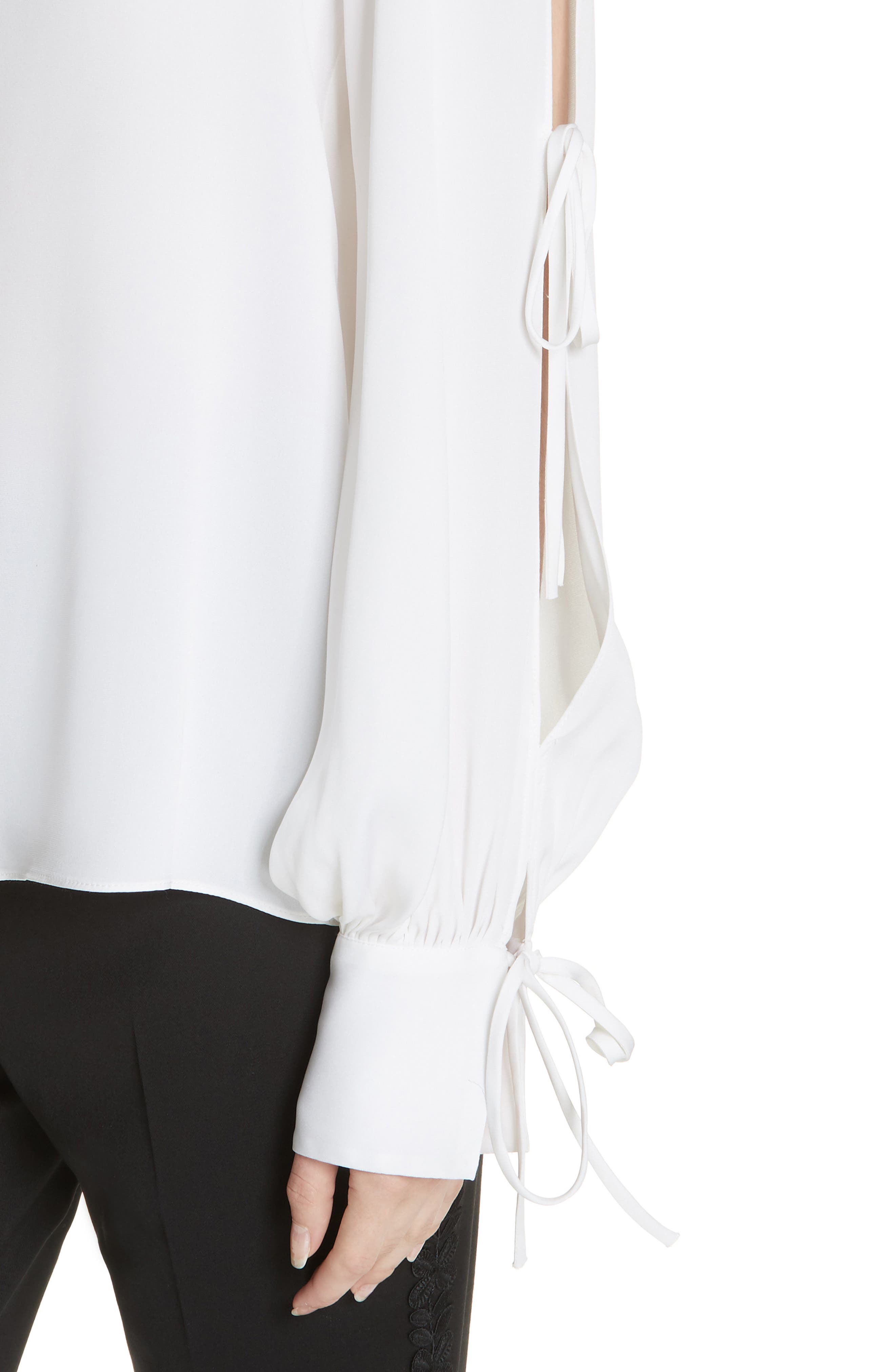 Connie Stretch Cold Shoulder Silk Top,                             Alternate thumbnail 4, color,                             WHITE