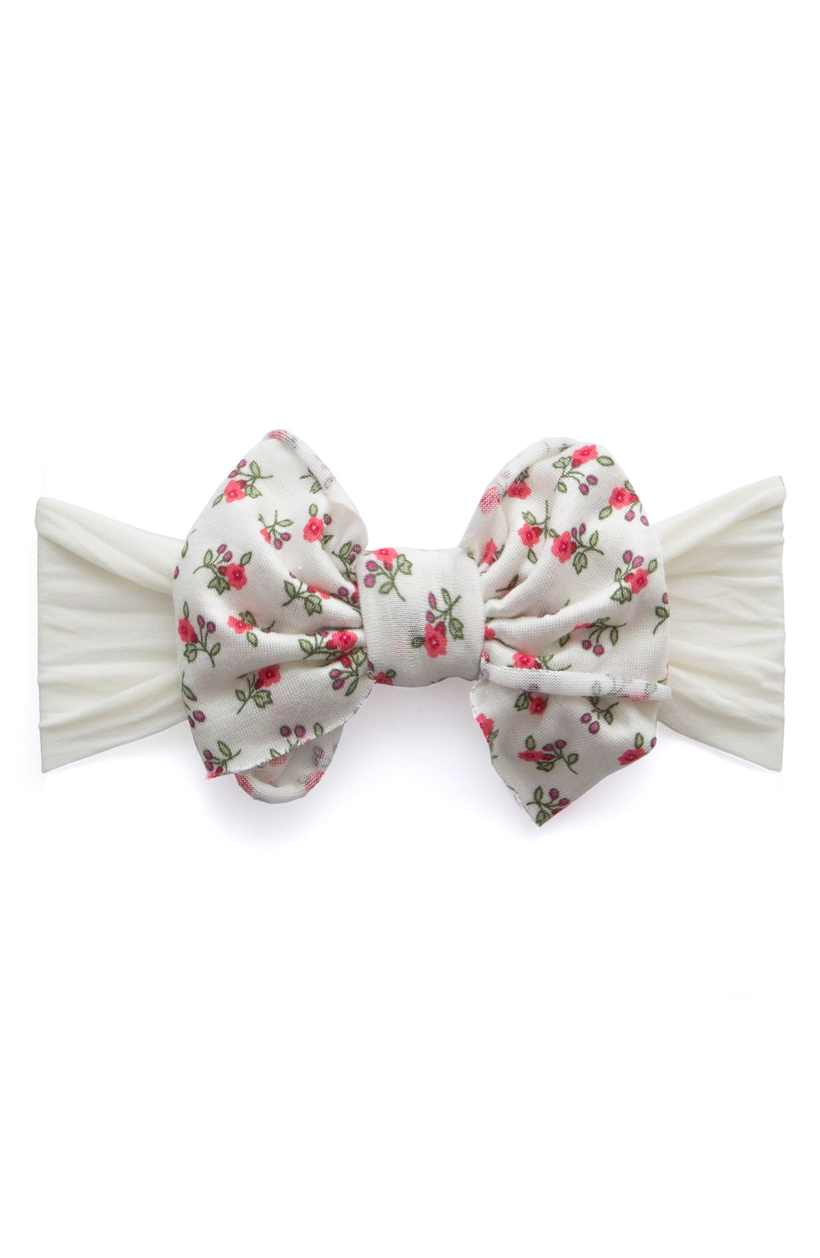 Jersey Bow Headband,                         Main,                         color, IVORY FLORAL