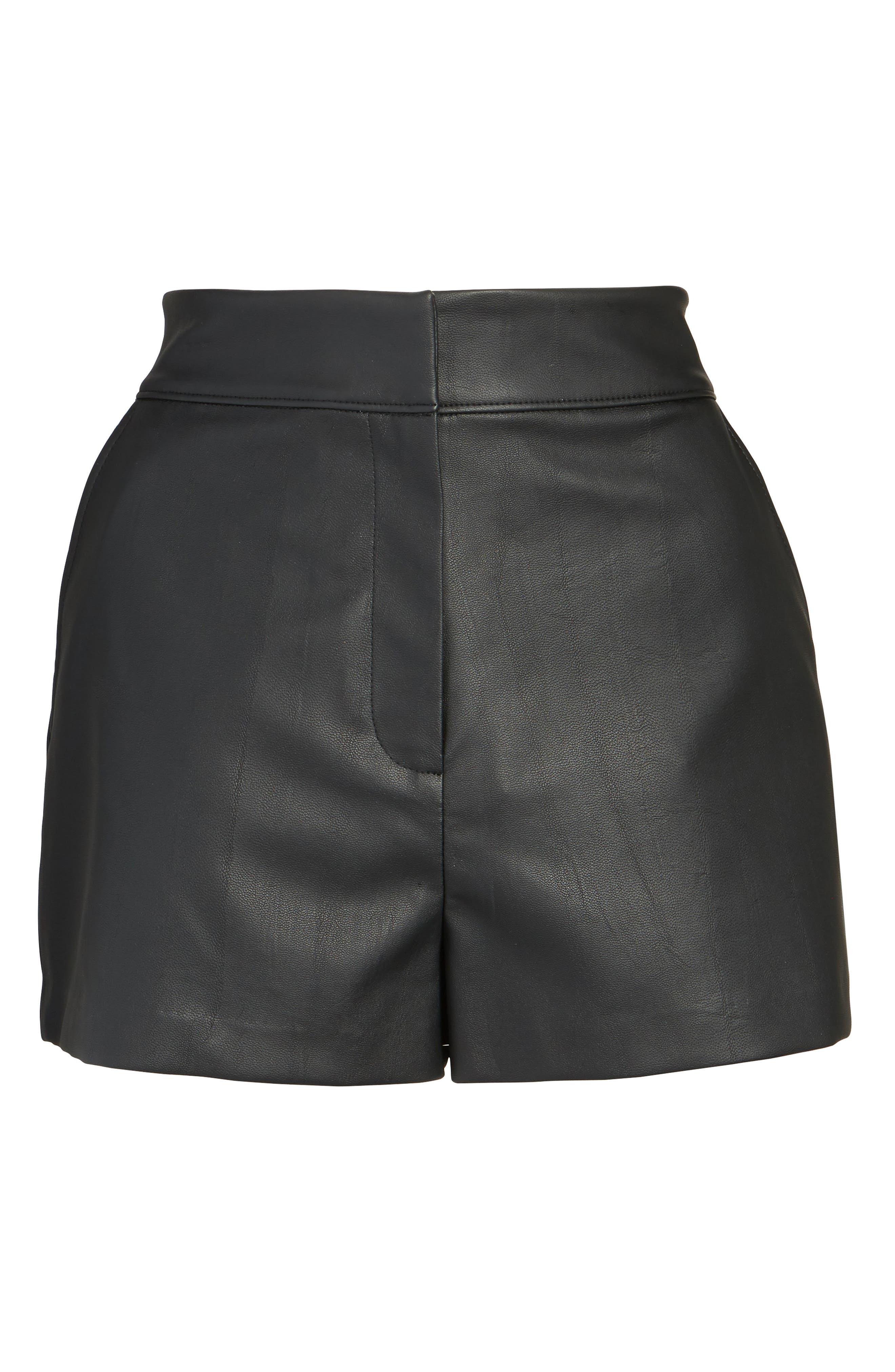 High Waist Faux Leather Shorts,                             Alternate thumbnail 6, color,