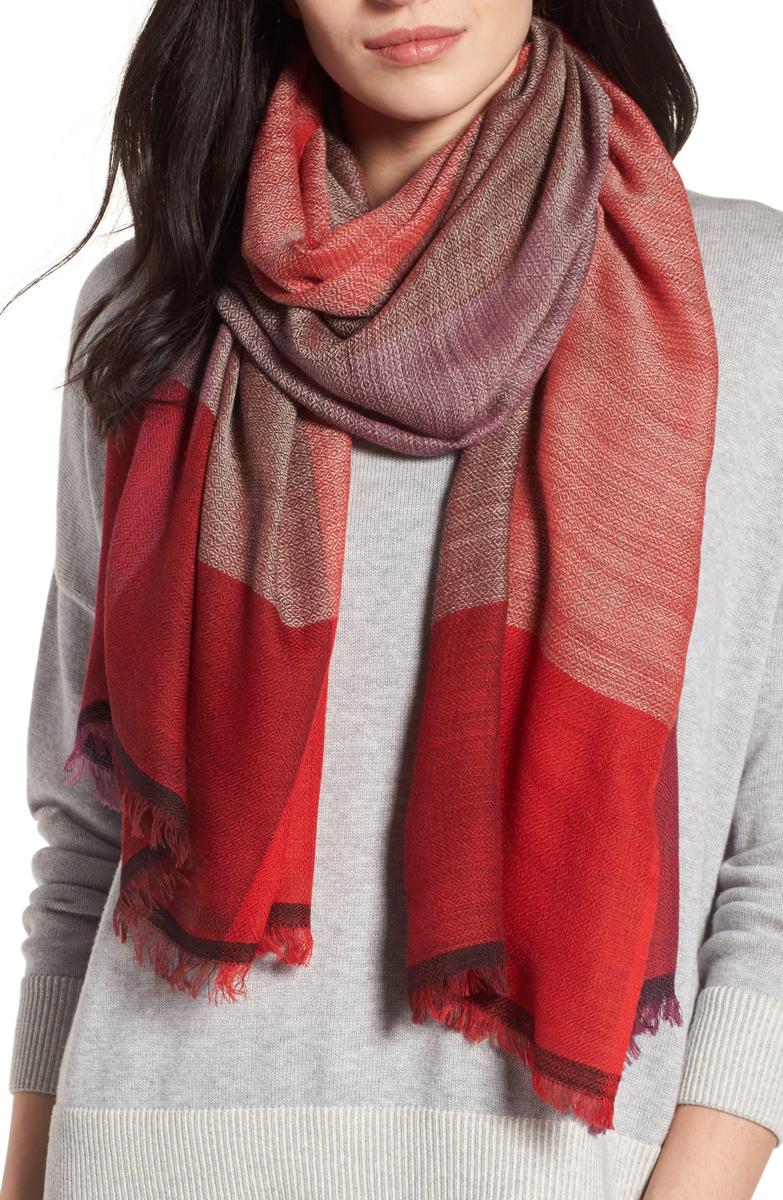 Colorblock Wool & Silk Scarf,                             Main thumbnail 2, color,