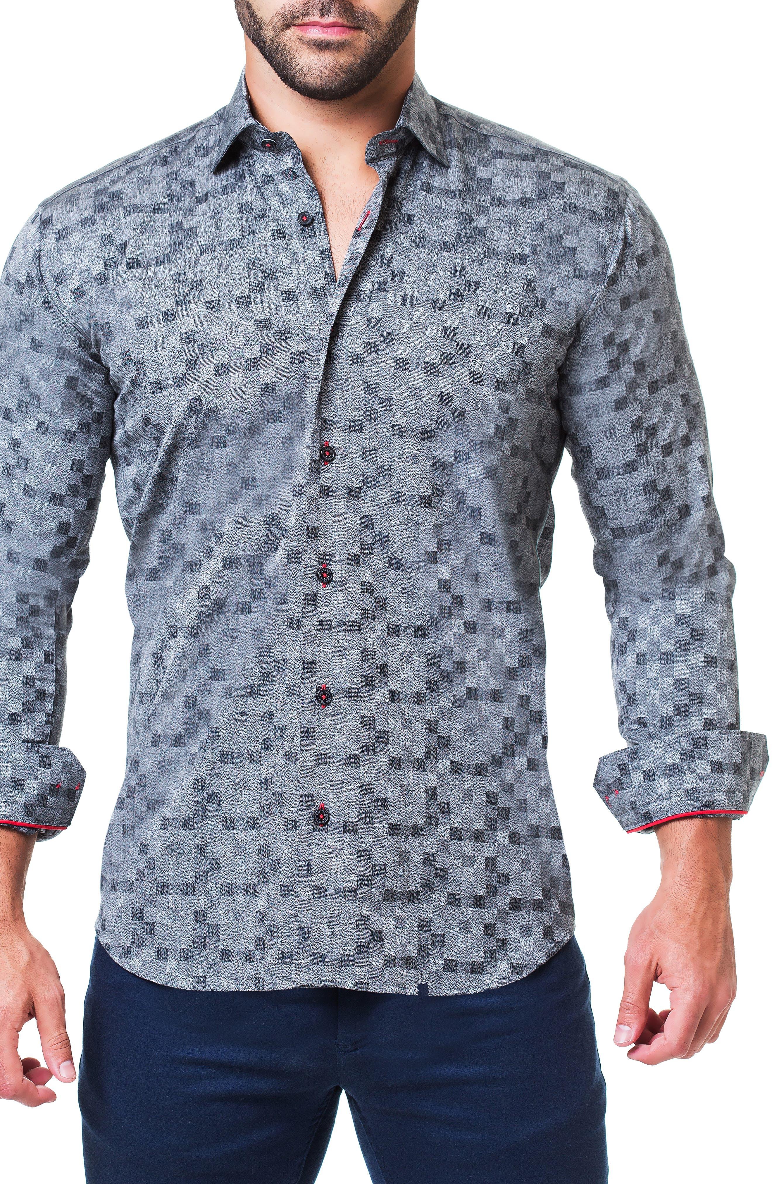 Fibonacci Domino Trim Fit Sport Shirt,                             Alternate thumbnail 4, color,                             GREY