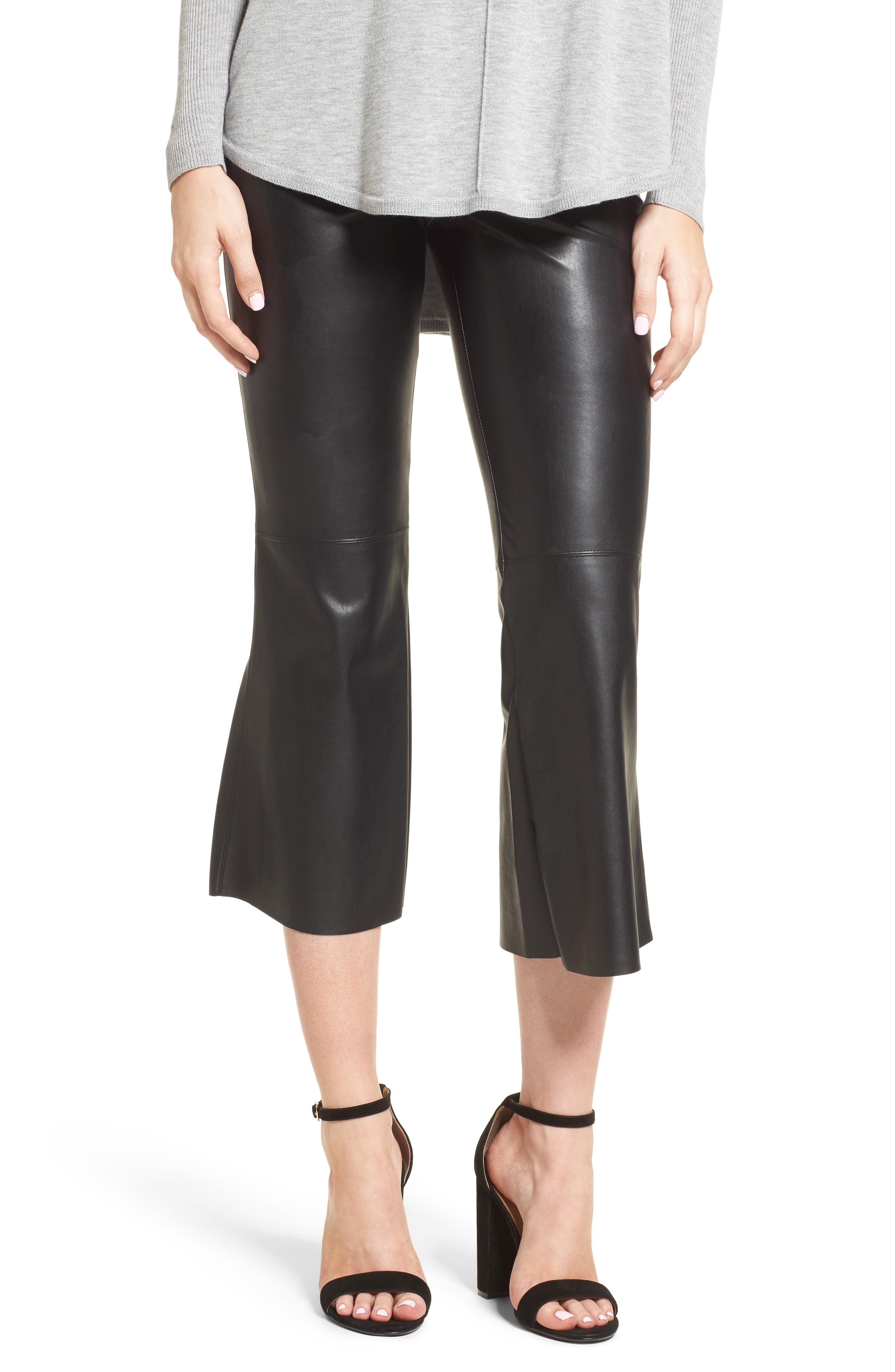 Lupine Crop Flare Faux Leather Pants,                             Main thumbnail 1, color,                             001