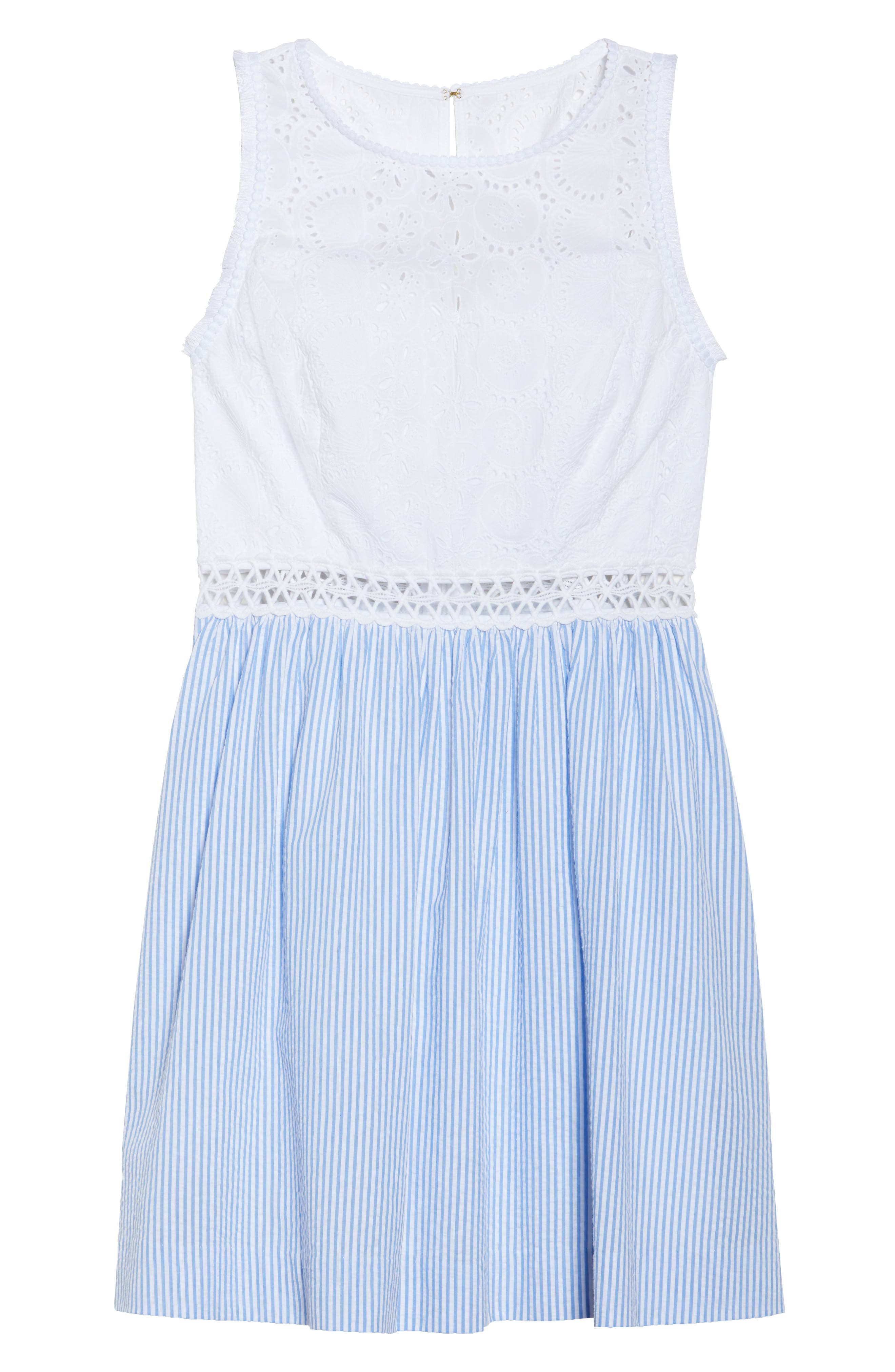 Lilly Pullitzer<sup>®</sup> Alivia Eyelet & Seersucker Fit & Flare Dress,                             Alternate thumbnail 6, color,                             BENNET BLUE YARD DYED STRIPE