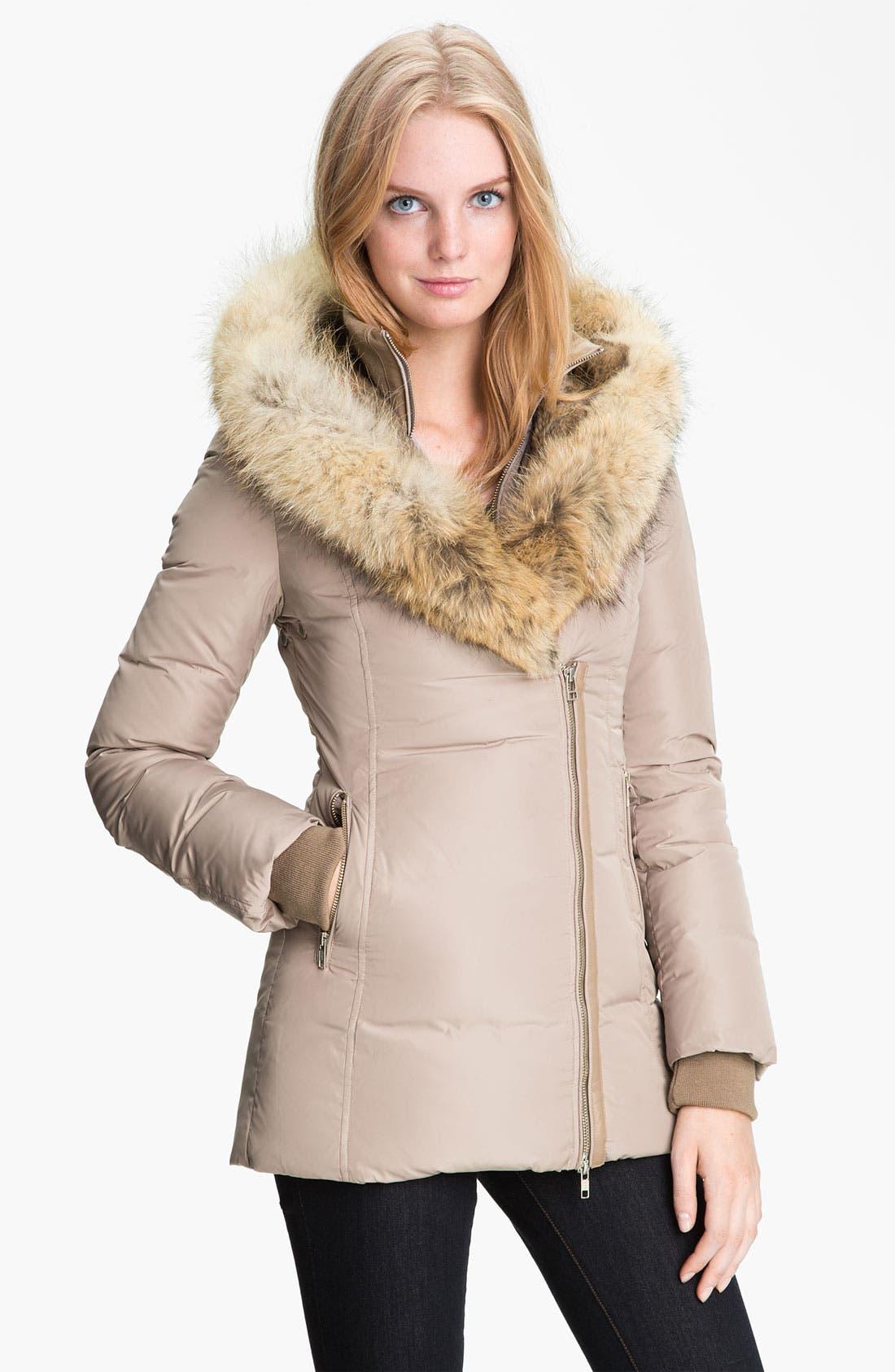 MACKAGE,                             'Akiva' Genuine Fox & Rabbit Fur Trim Down Coat,                             Main thumbnail 1, color,                             250