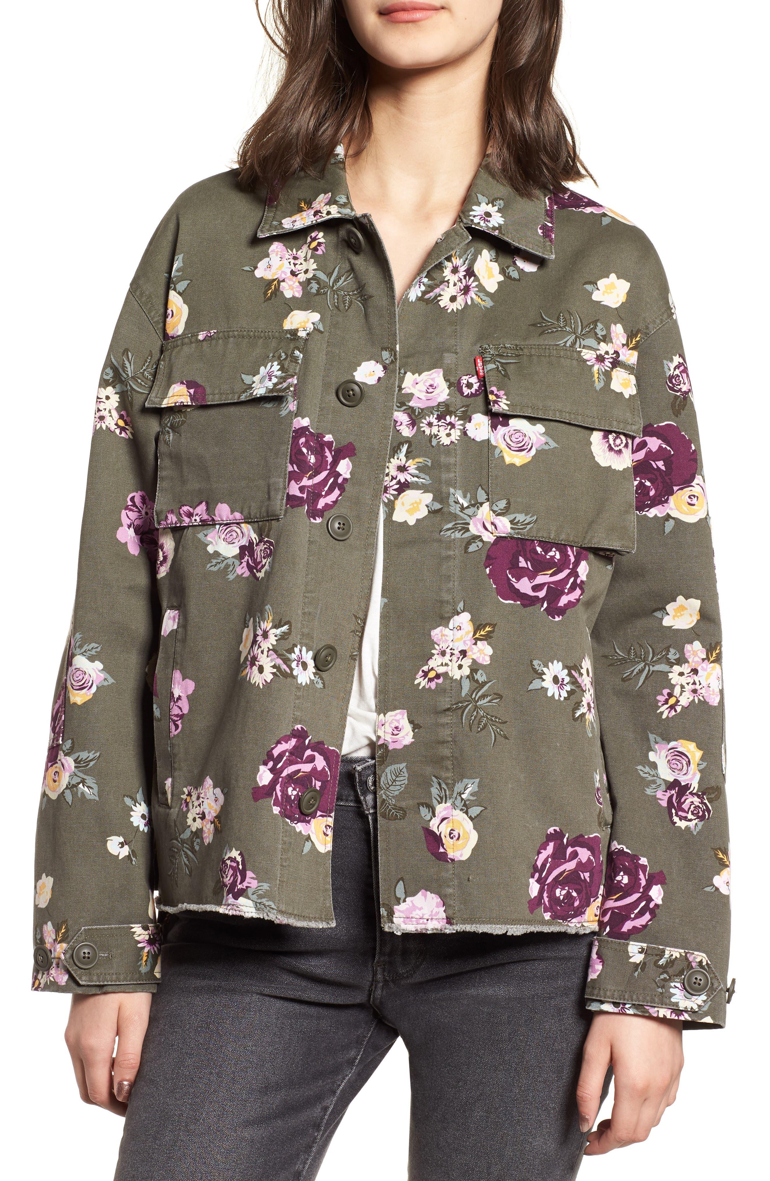 Oversize Cotton Canvas Camo Shirt Jacket,                         Main,                         color, 303