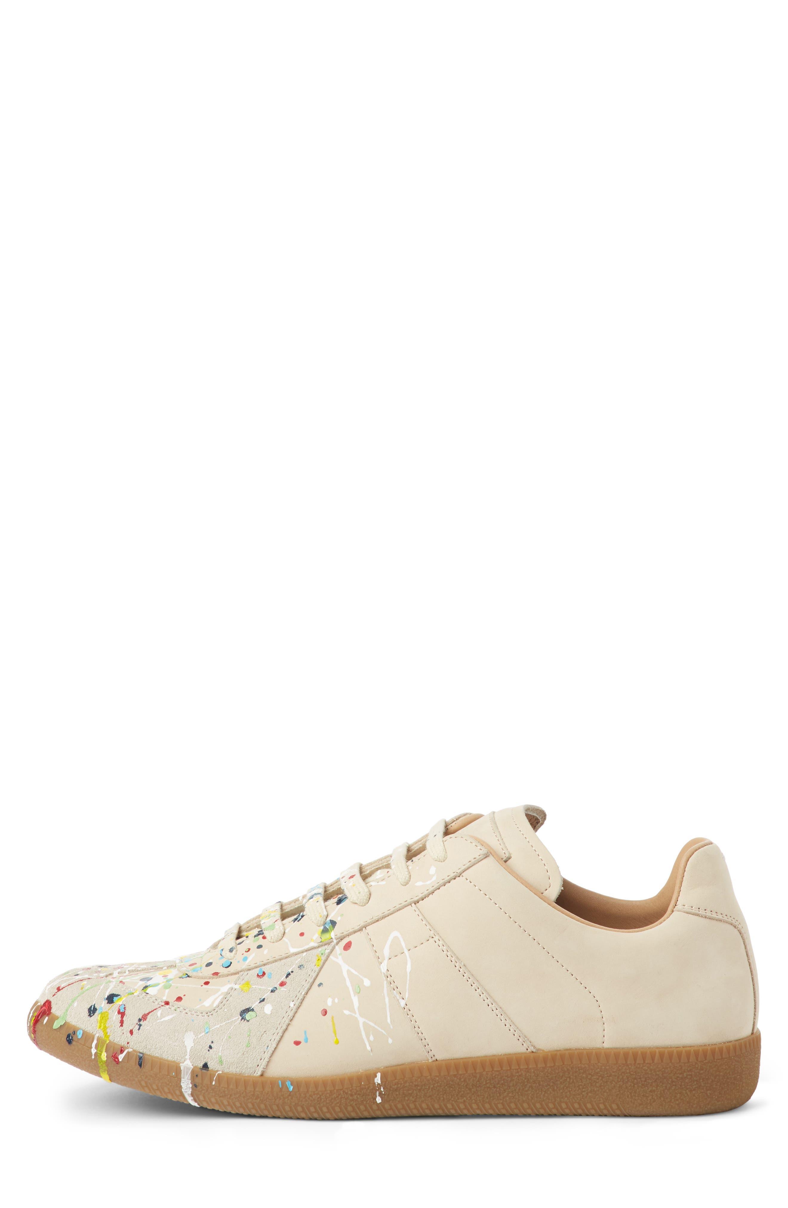 Maison Margiela Replica Low Top Sneaker,                             Alternate thumbnail 3, color,                             BEIGE / PAINT