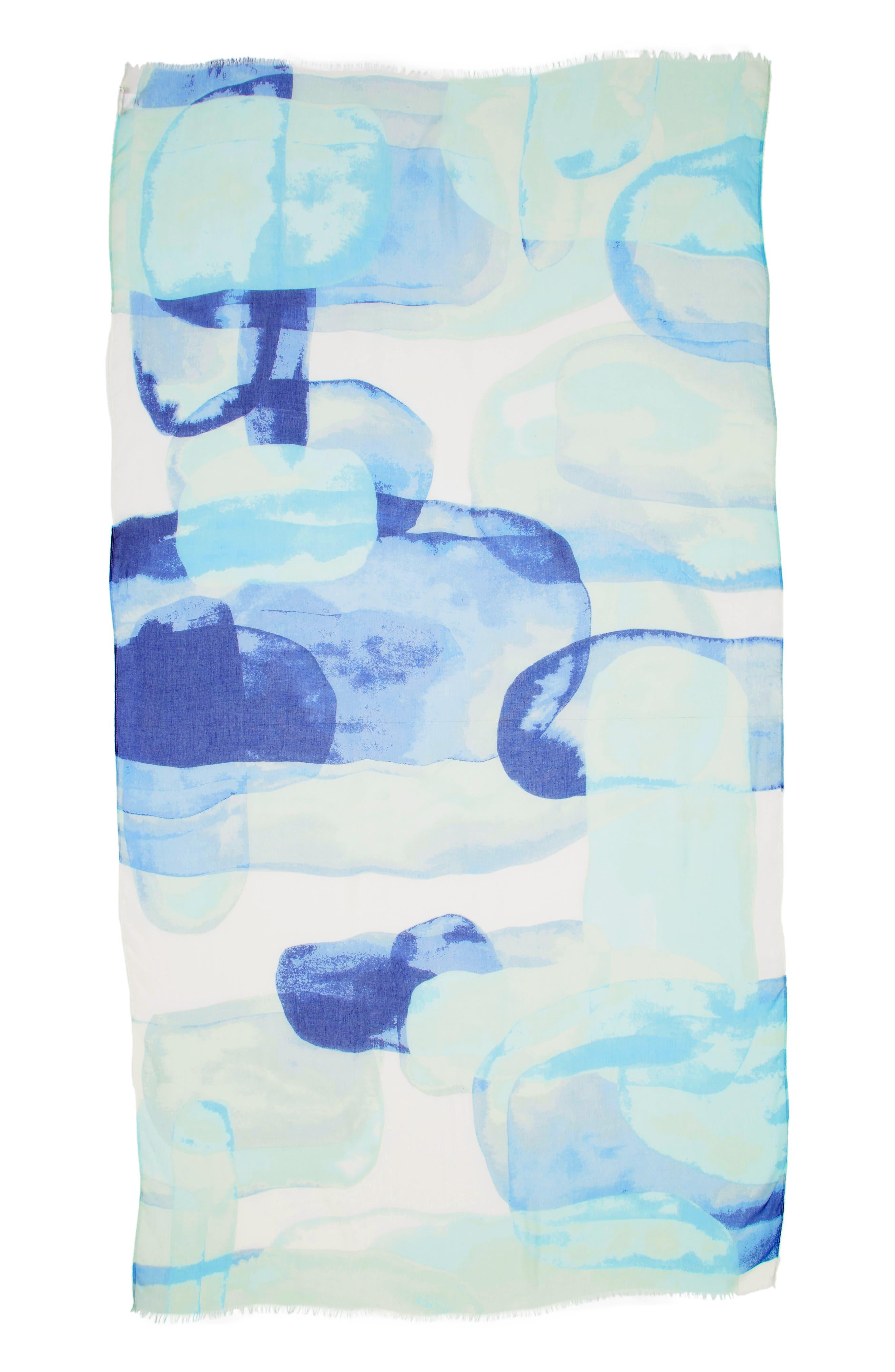 NORDSTROM,                             Print Modal & Silk Scarf,                             Alternate thumbnail 3, color,                             BLUE COLOR STONES