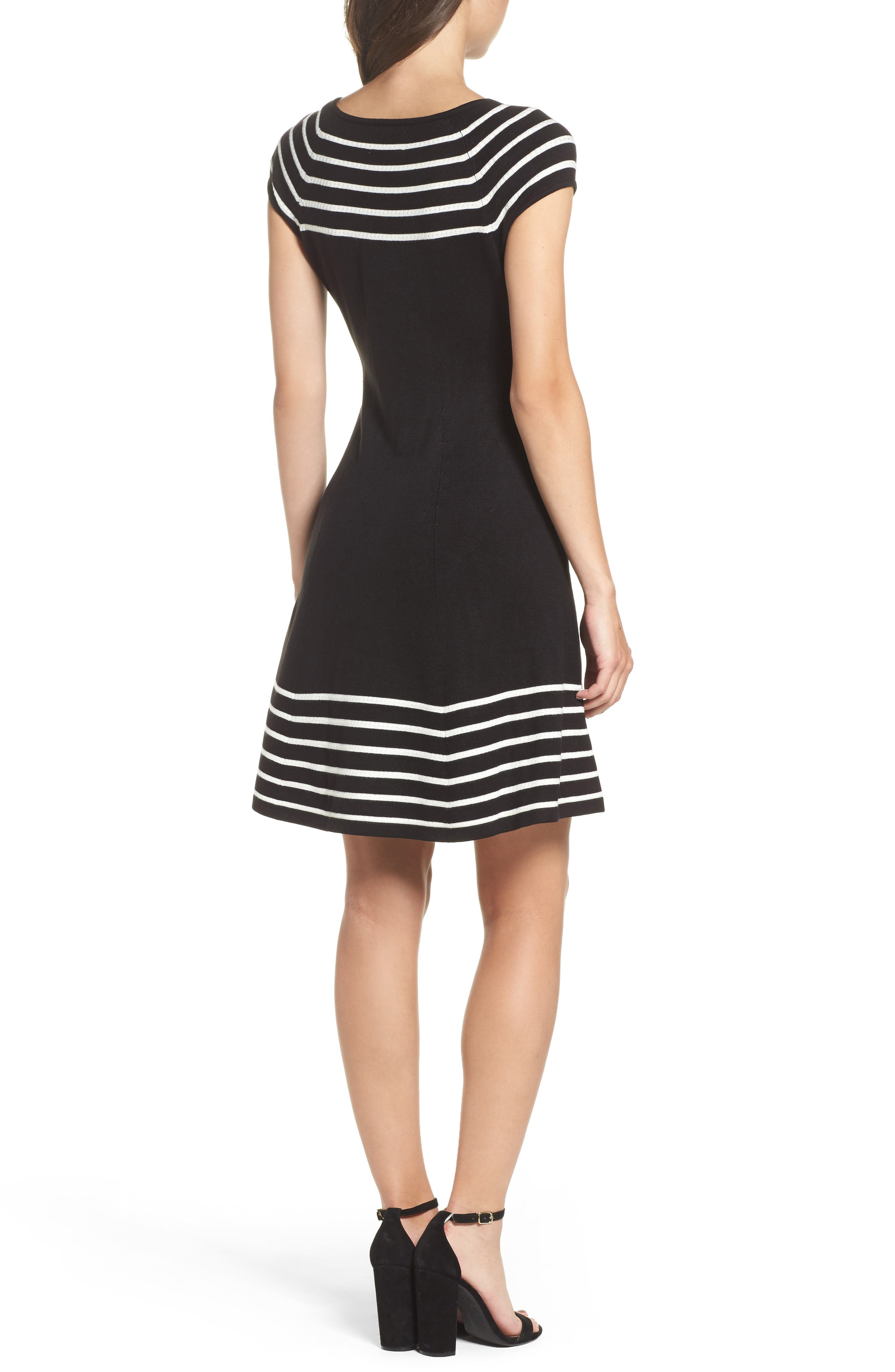 Stripe Knit Flared Dress,                             Alternate thumbnail 3, color,                             001