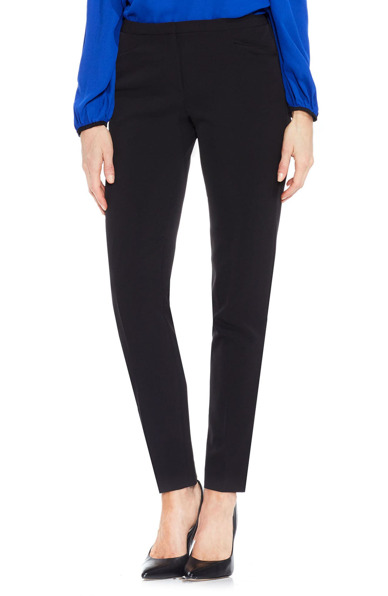 VINCE CAMUTO,                             Stretch Twill Ankle Pants,                             Main thumbnail 1, color,                             RICH BLACK
