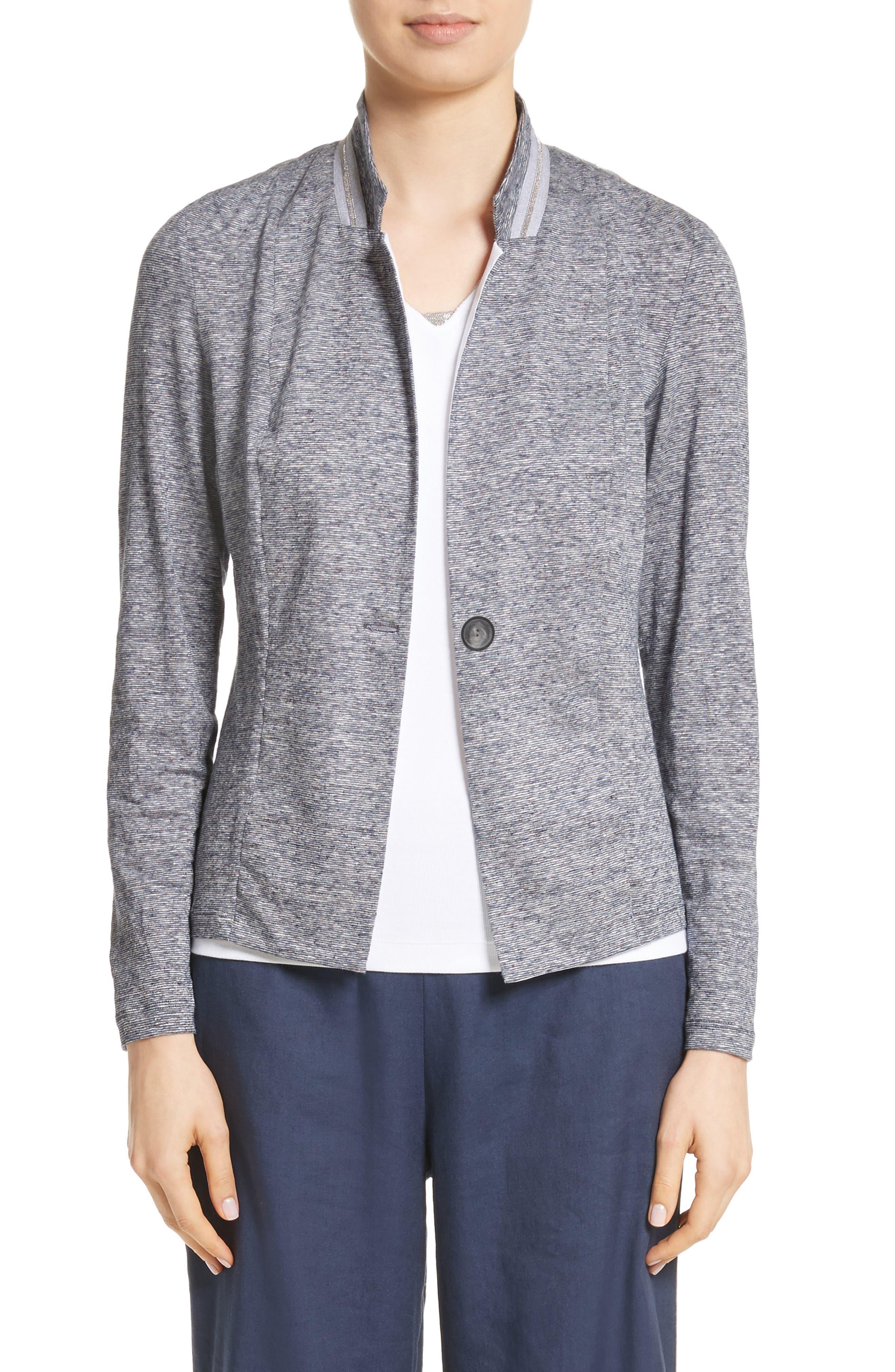 Grosgrain Stripe Jersey Jacket,                             Main thumbnail 1, color,                             400