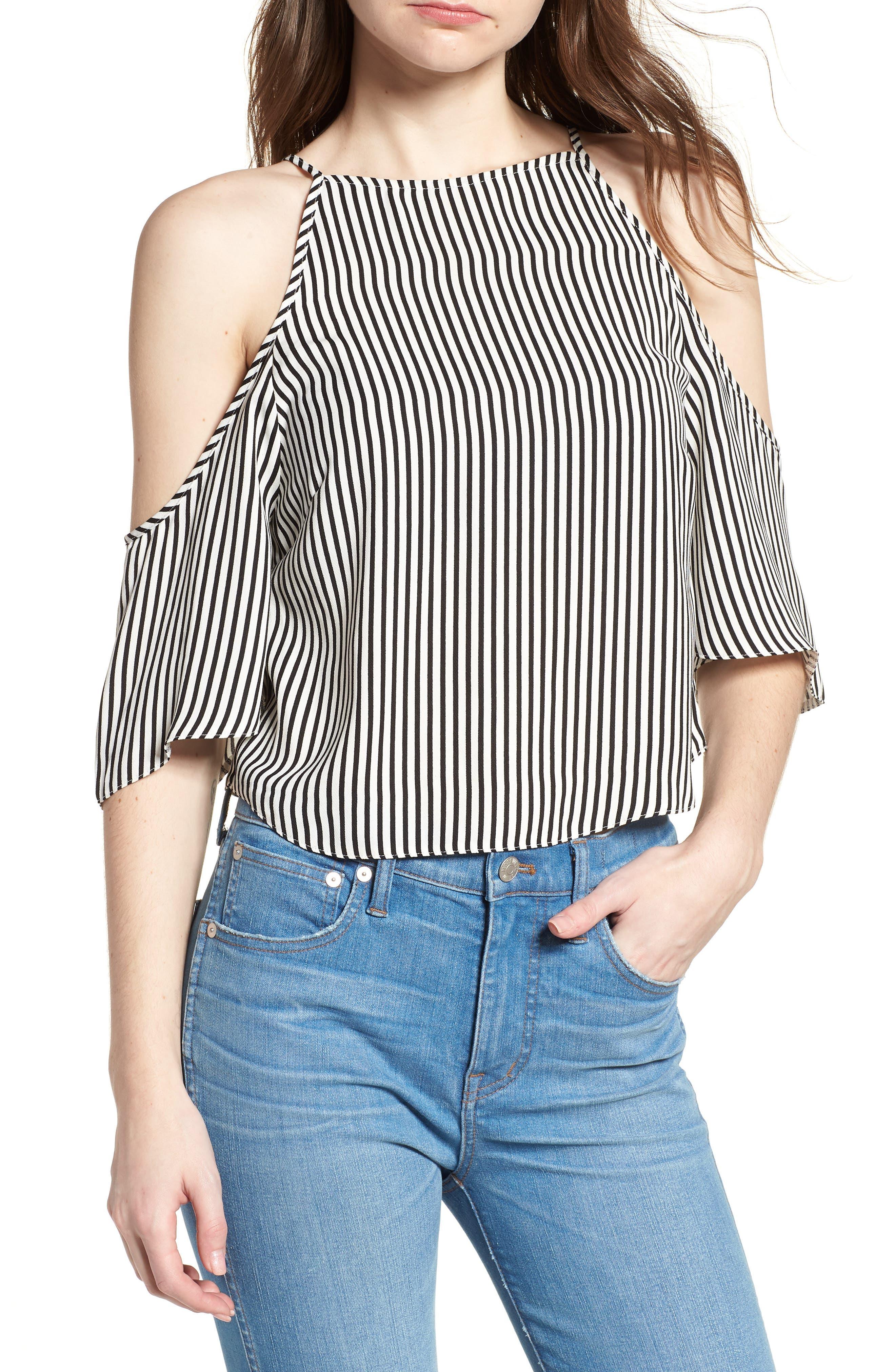 Bishop + Young Ava Stripe Cold Shoulder Top,                         Main,                         color, BLACK STRIPE