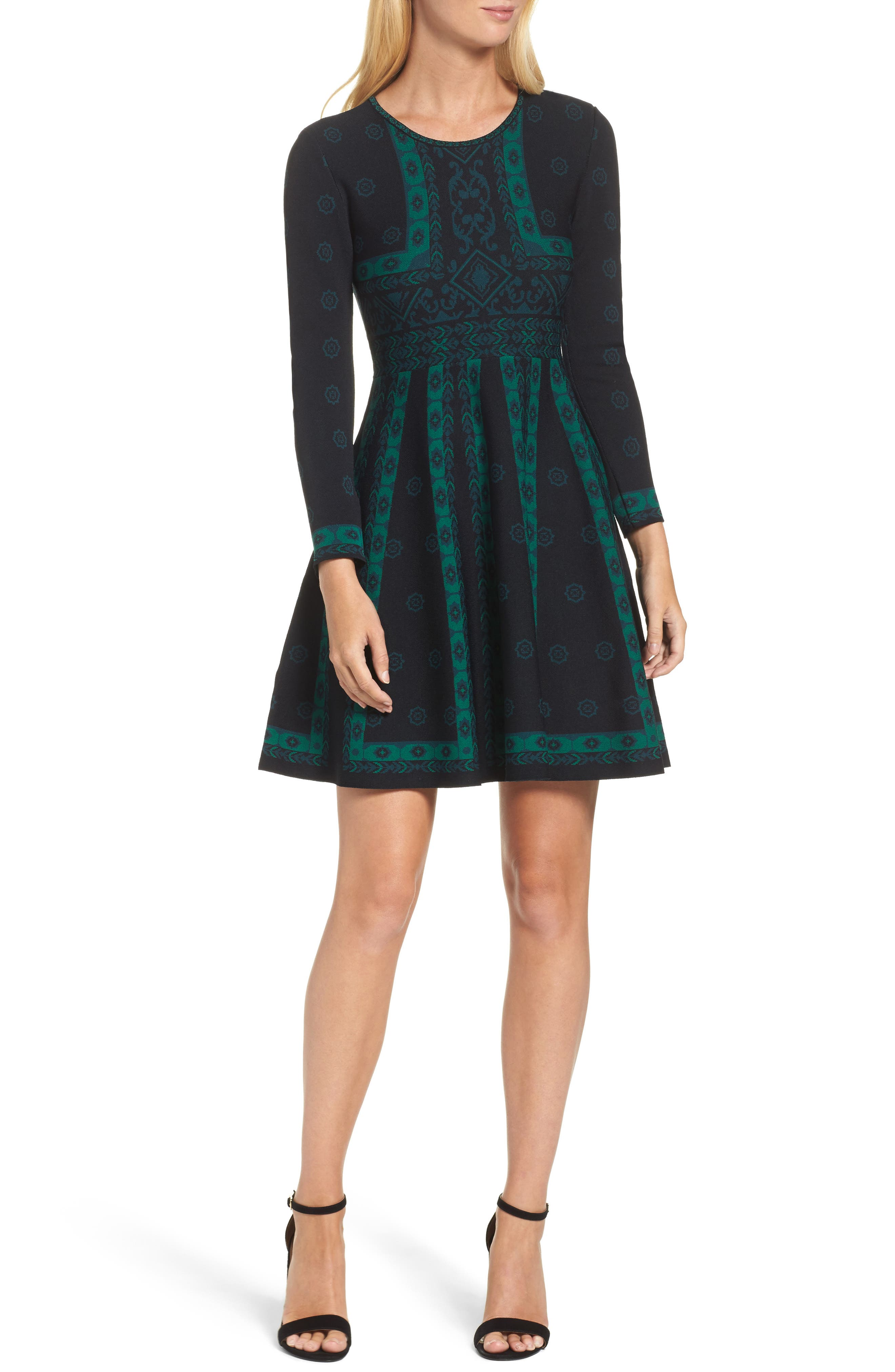 Pattern Double-Knit Fit & Flare Dress,                             Main thumbnail 1, color,                             396