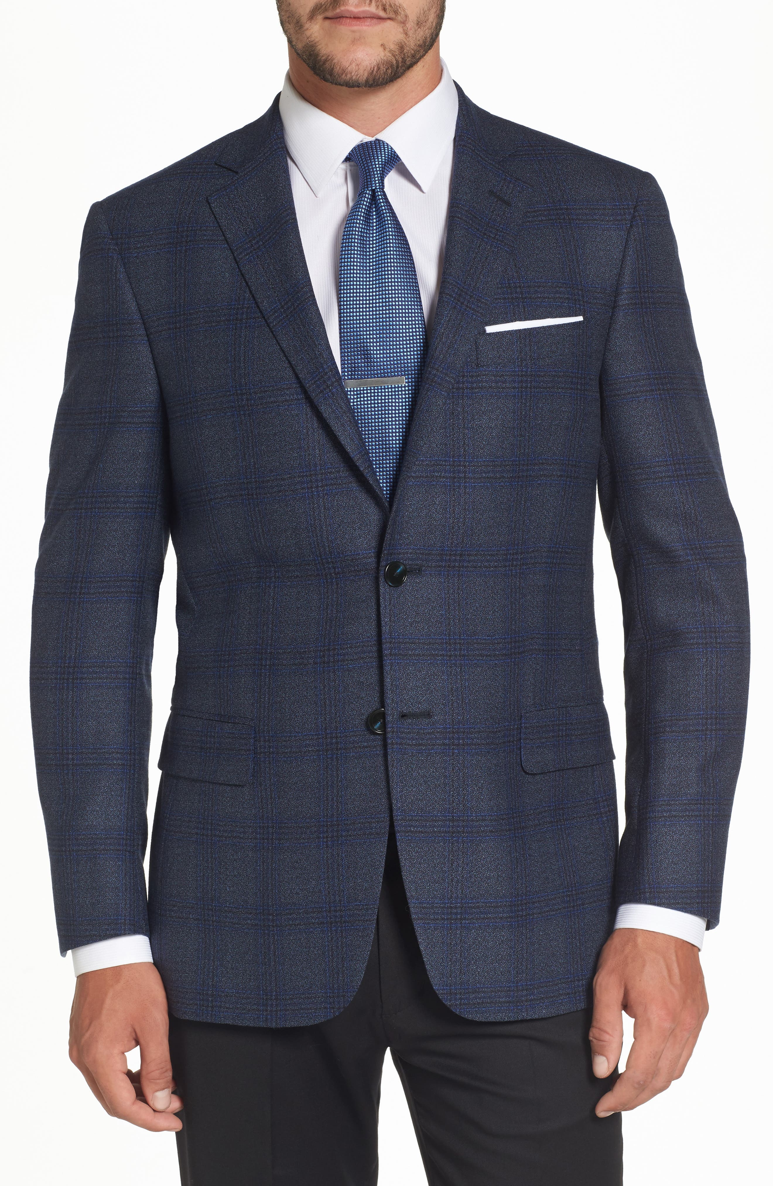 Classic Fit Plaid Wool Sport Coat,                         Main,                         color, 401