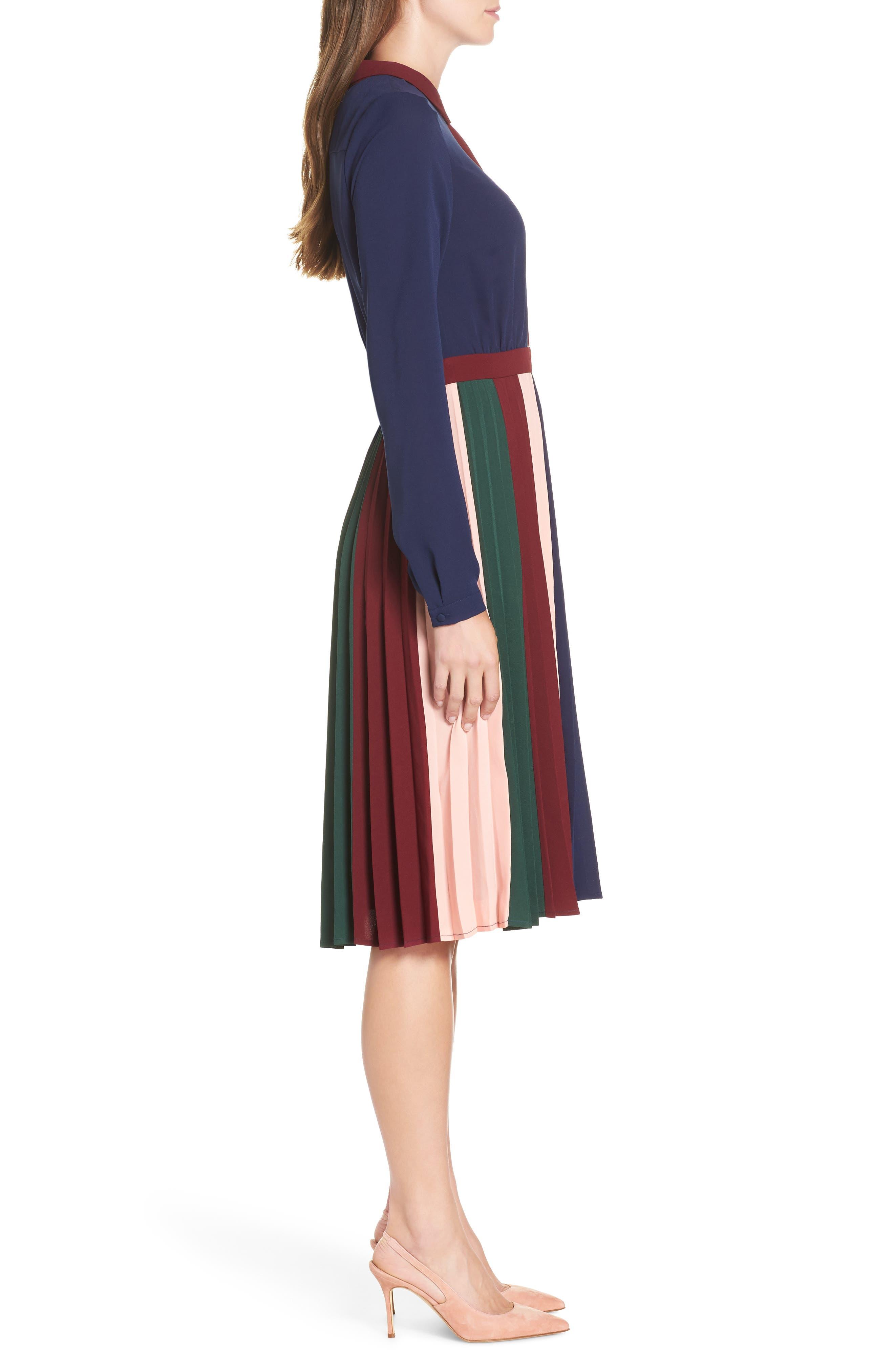 Colorblock Midi Dress,                             Alternate thumbnail 3, color,                             410