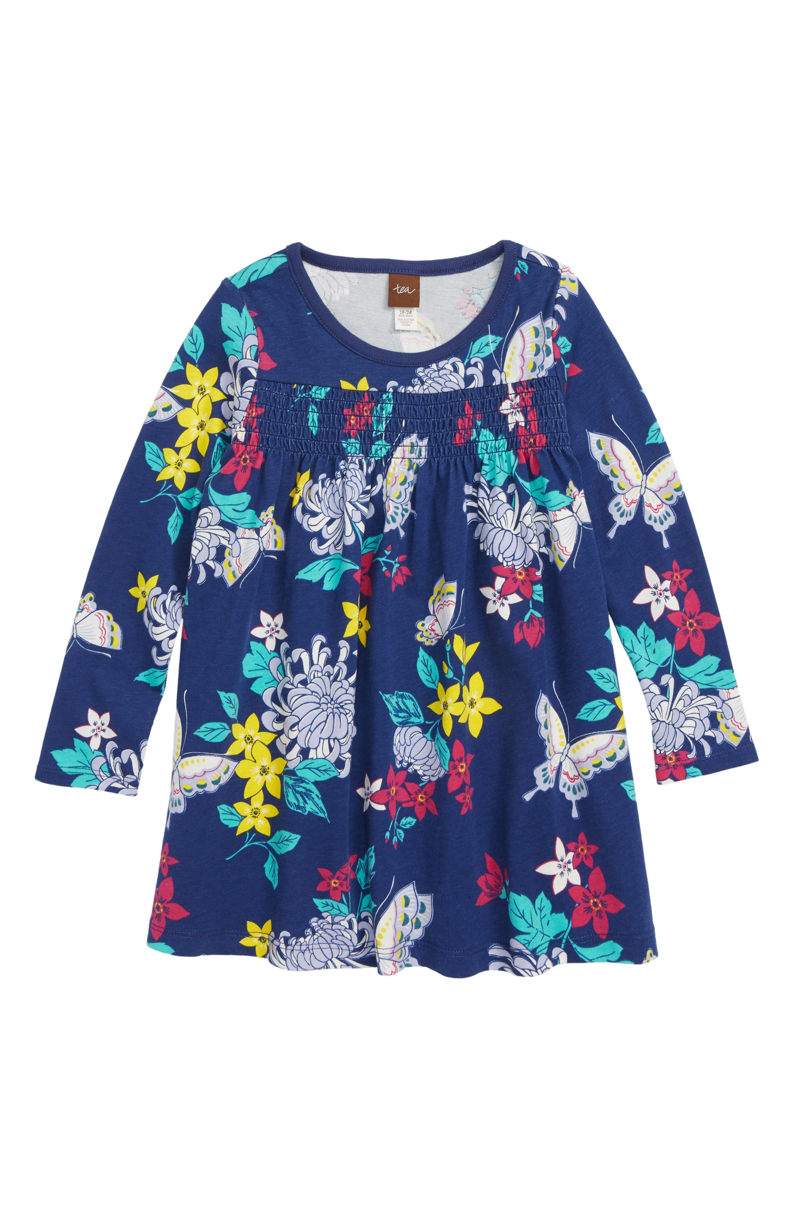 Smocked Dress,                         Main,                         color, BLOOMS/ BUTTERFILES