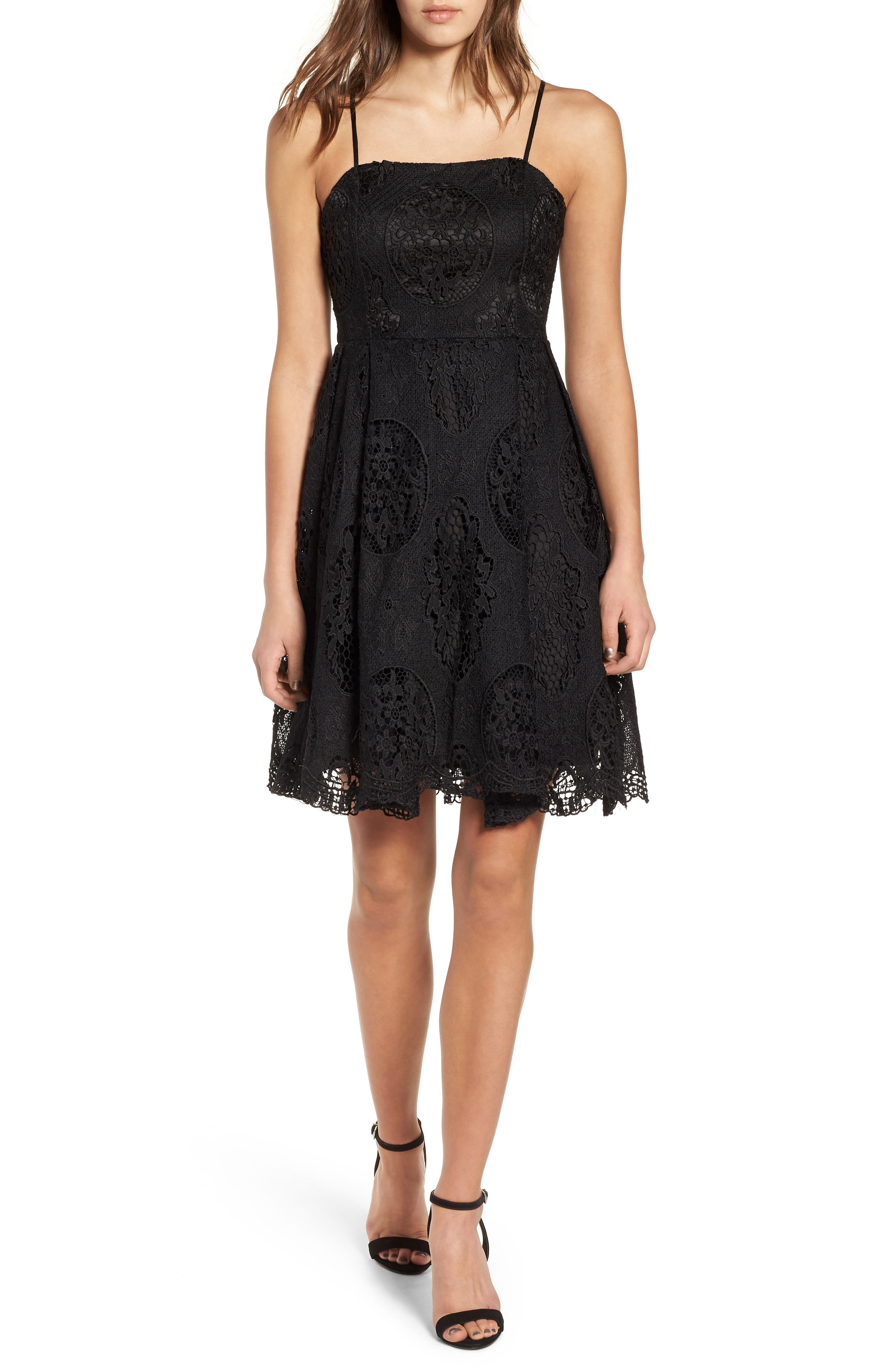 Lace Fit & Flare Dress,                             Main thumbnail 1, color,                             001