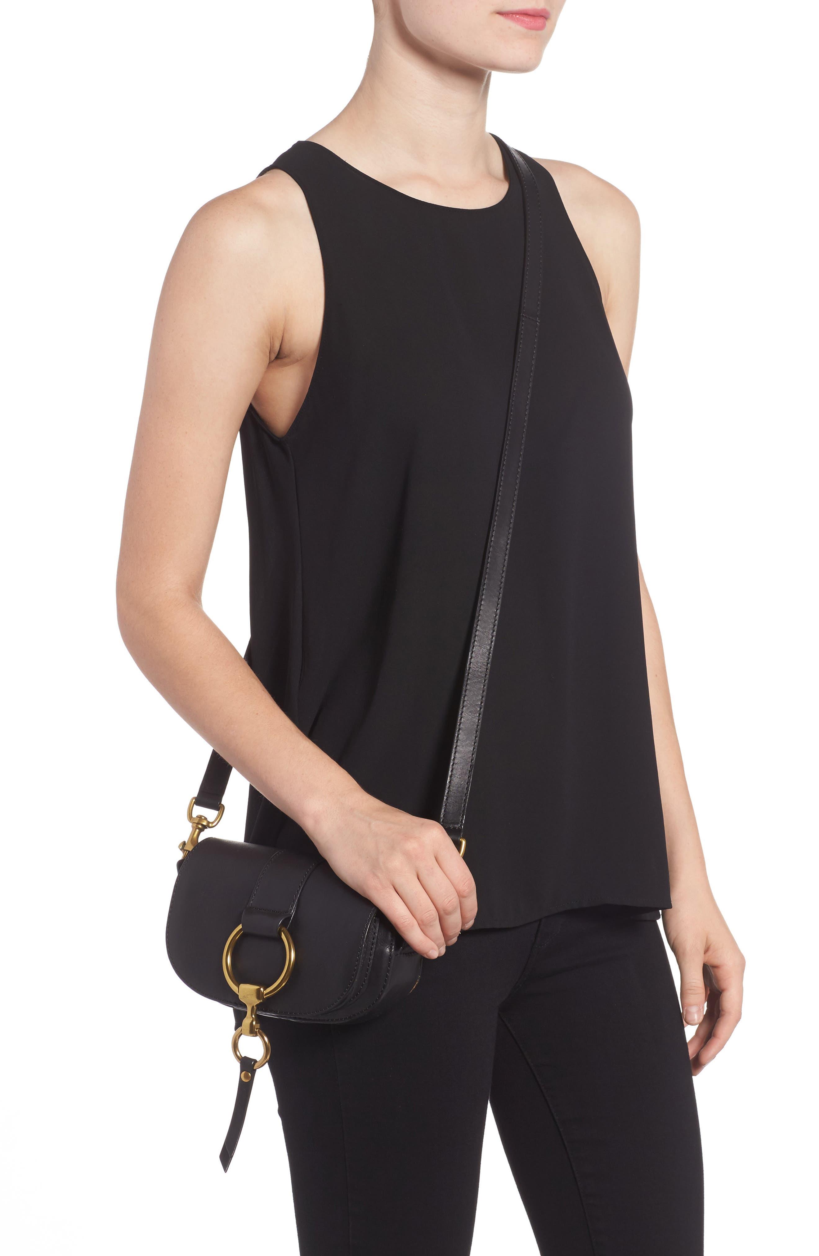 Mini Ilana Harness Leather Saddle Bag,                             Alternate thumbnail 2, color,                             001