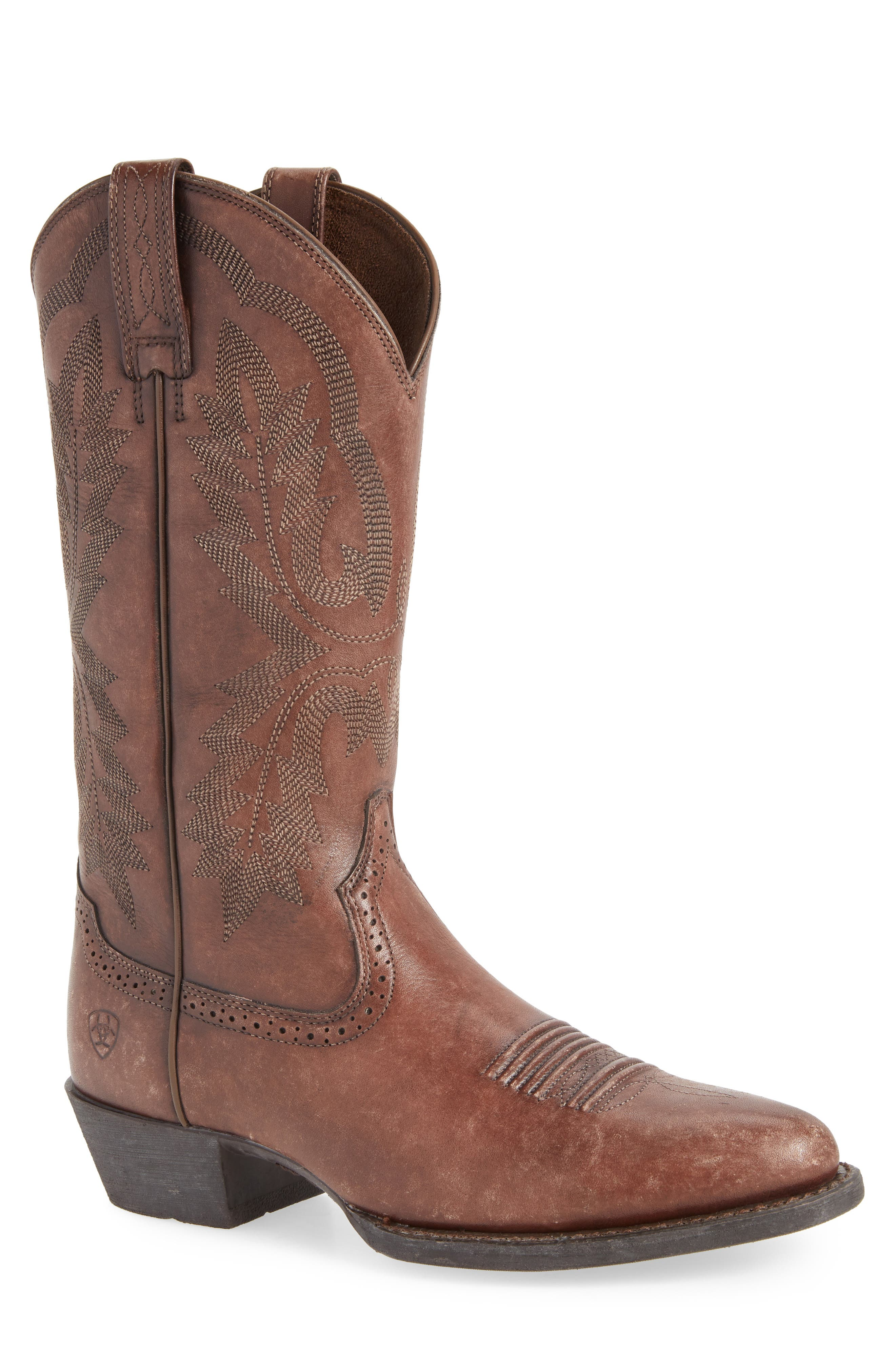Heritage Calhoun Western R-Toe Boot,                         Main,                         color, NATURAL BROWN LEATHER