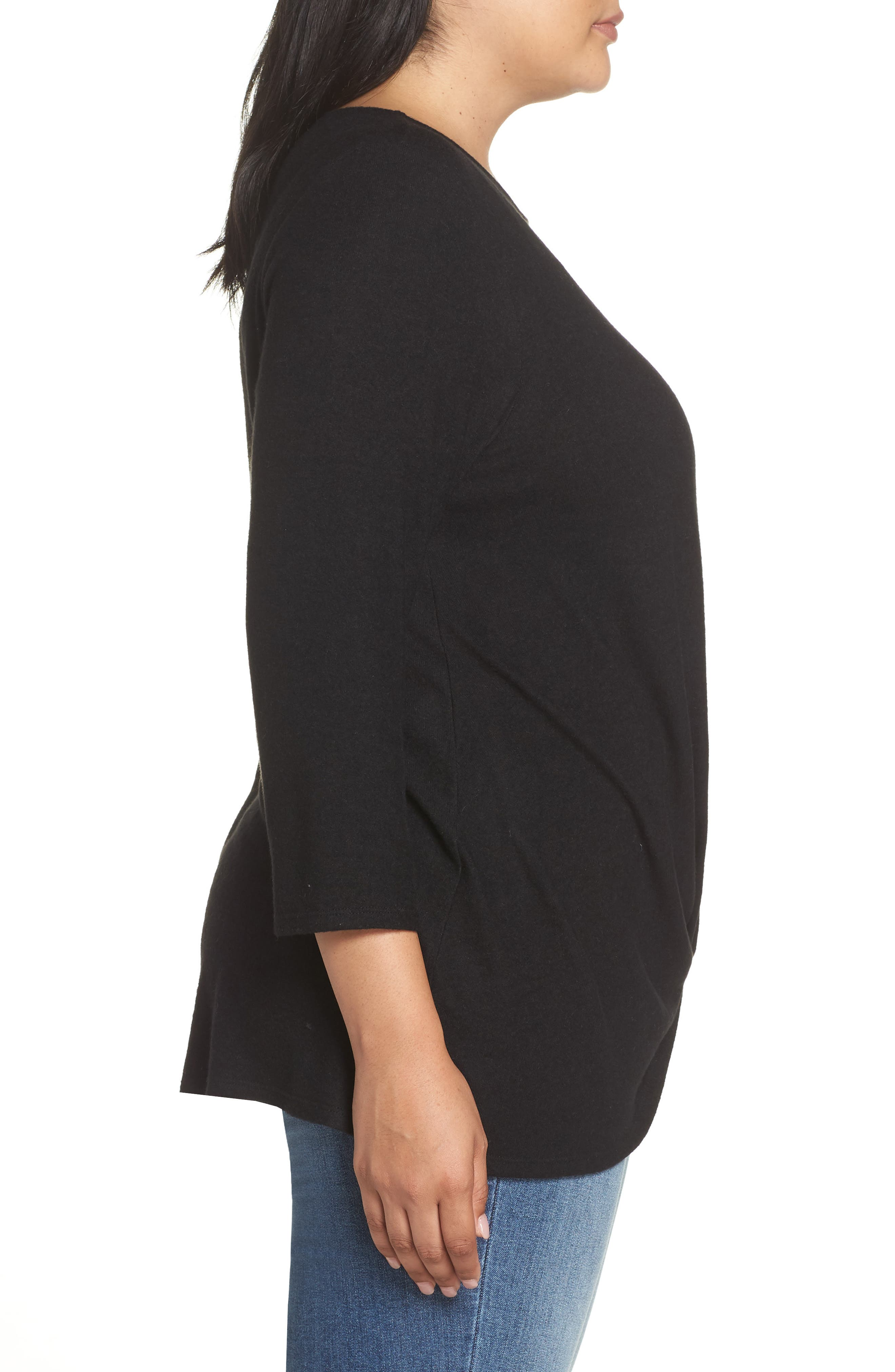 Twist Front Cozy Pullover,                             Alternate thumbnail 3, color,                             BLACK