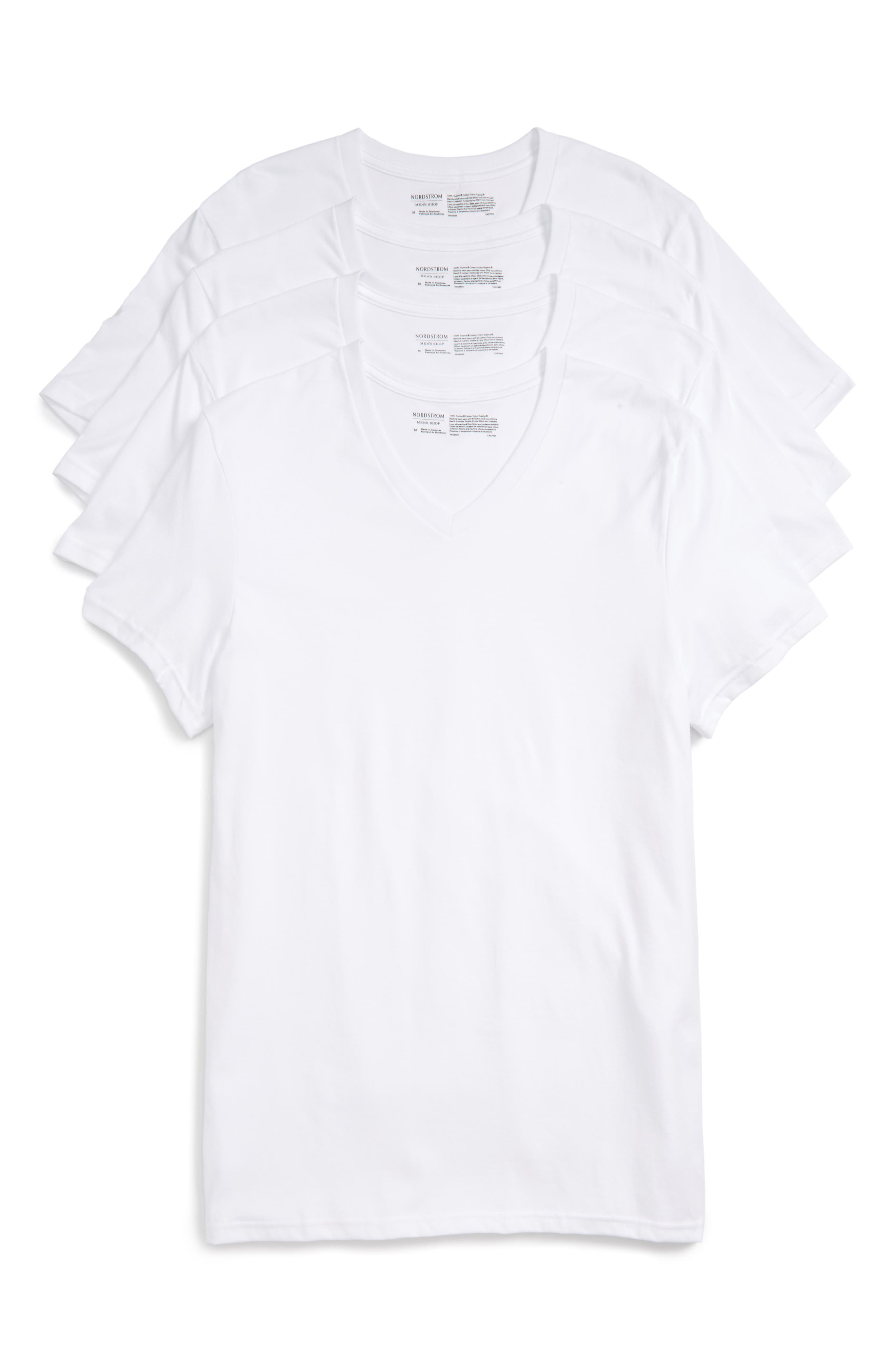 4-Pack Trim Fit Supima<sup>®</sup> Cotton V-Neck T-Shirts,                         Main,                         color, WHITE
