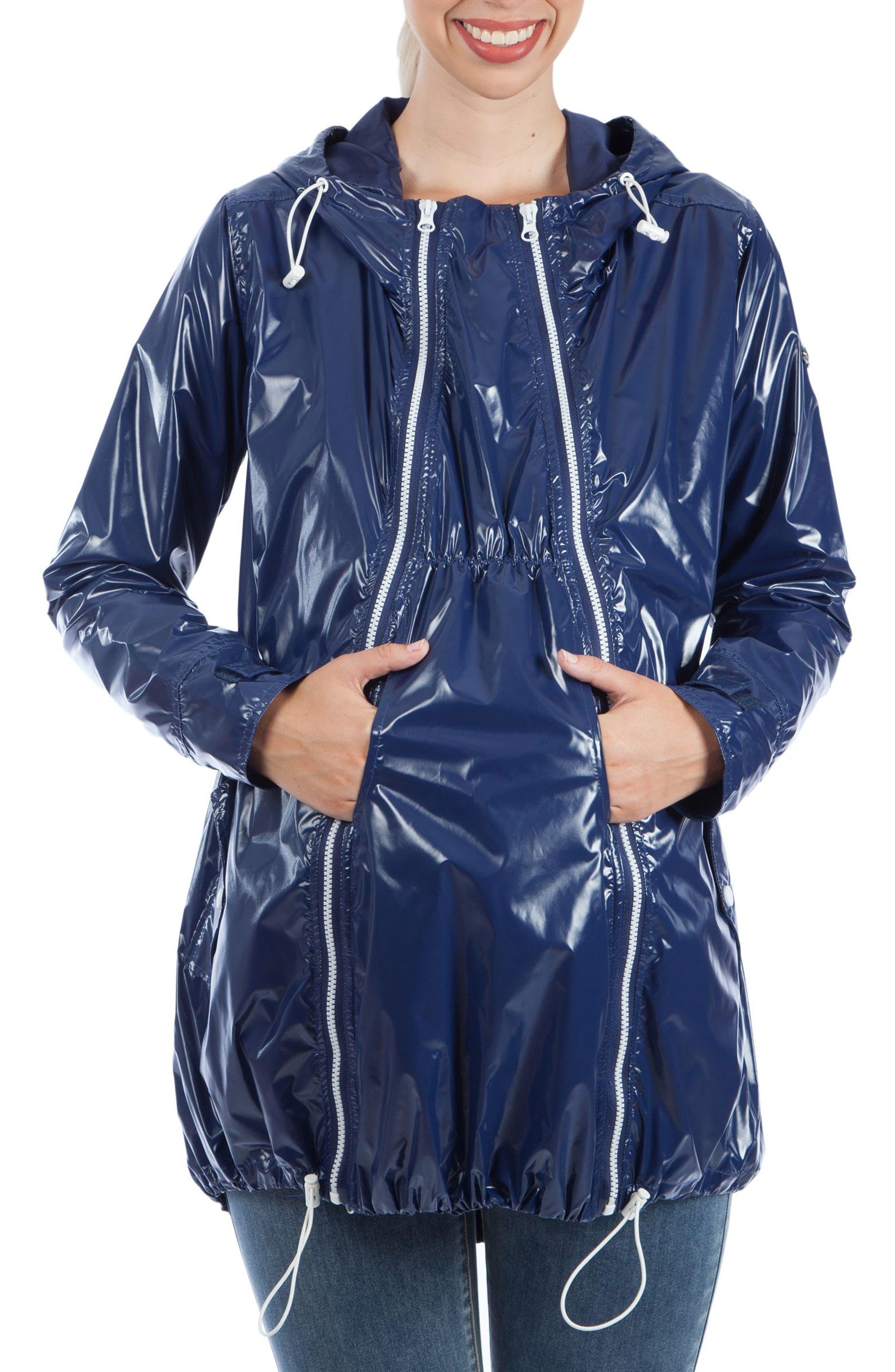 Waterproof Convertible 3-in-1 Maternity Raincoat,                             Alternate thumbnail 5, color,                             BRIGHT NAVY