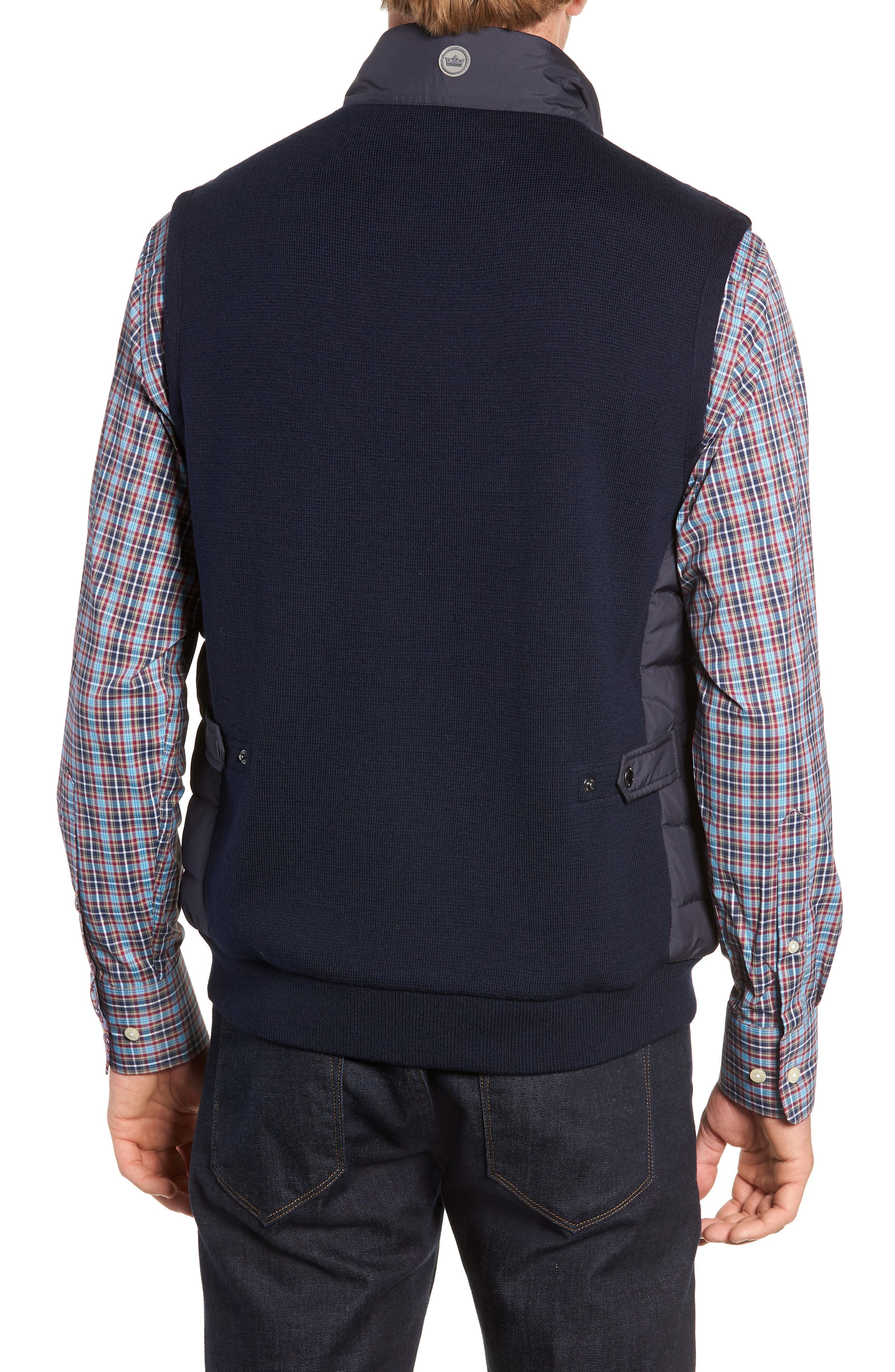 Crown Elite Channel Quilted Hybrid Vest,                             Alternate thumbnail 2, color,                             NAVY