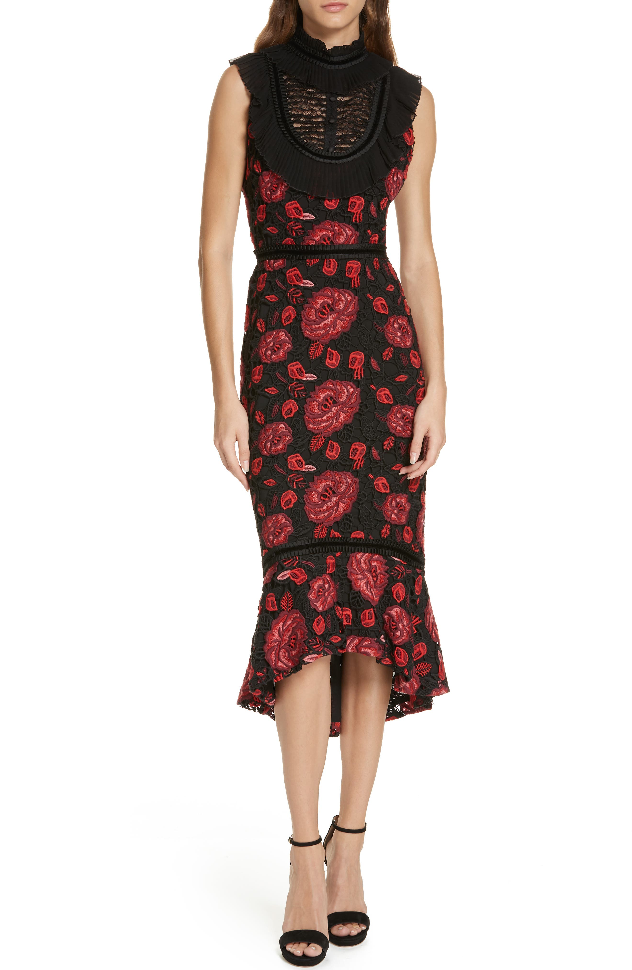 Evelina High Ruffle Neck Body-Con Midi Dress, Main, color, 930